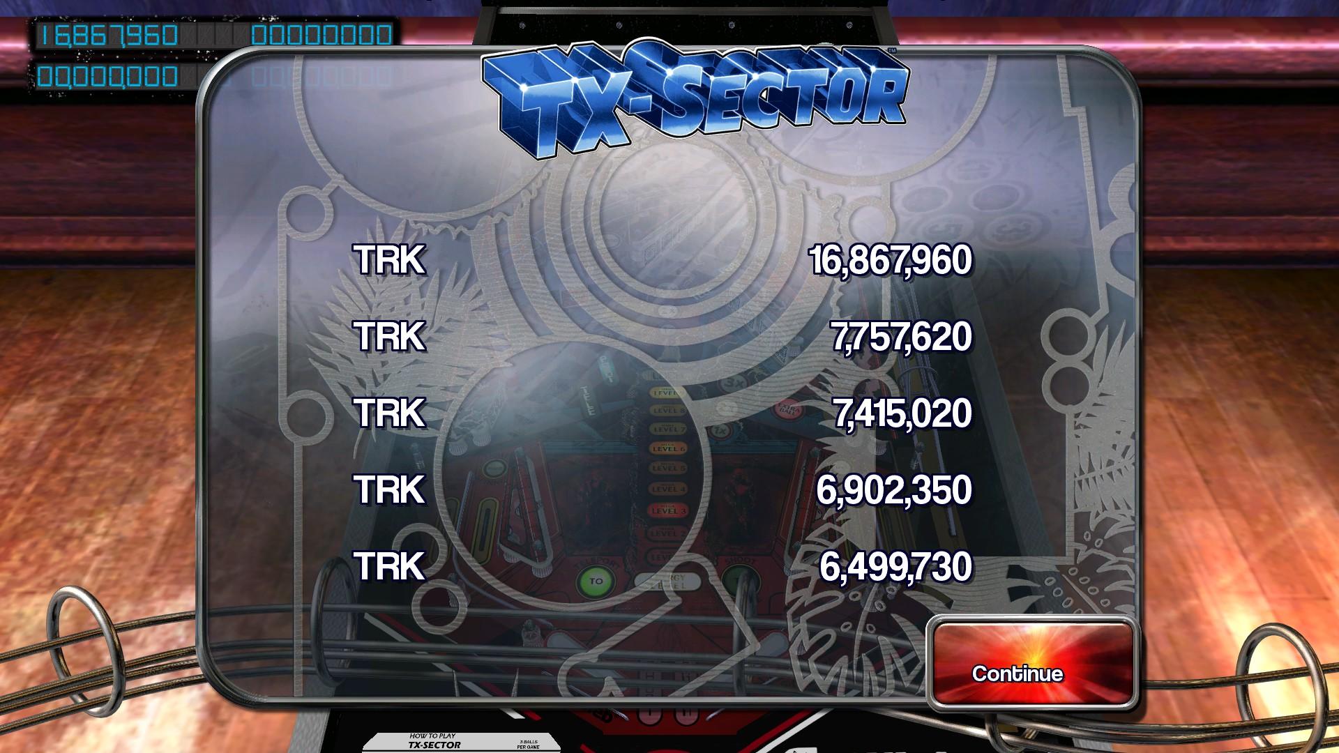 Pinball Arcade: TX-Sector 16,867,960 points