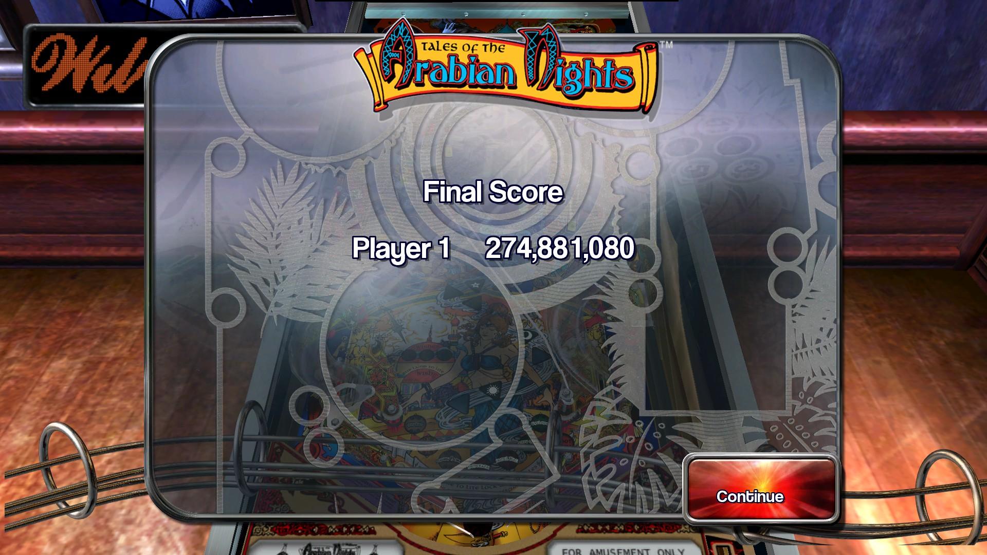 Pinball Arcade: Tales of the Arabian Nights [3 balls] 274,881,080 points