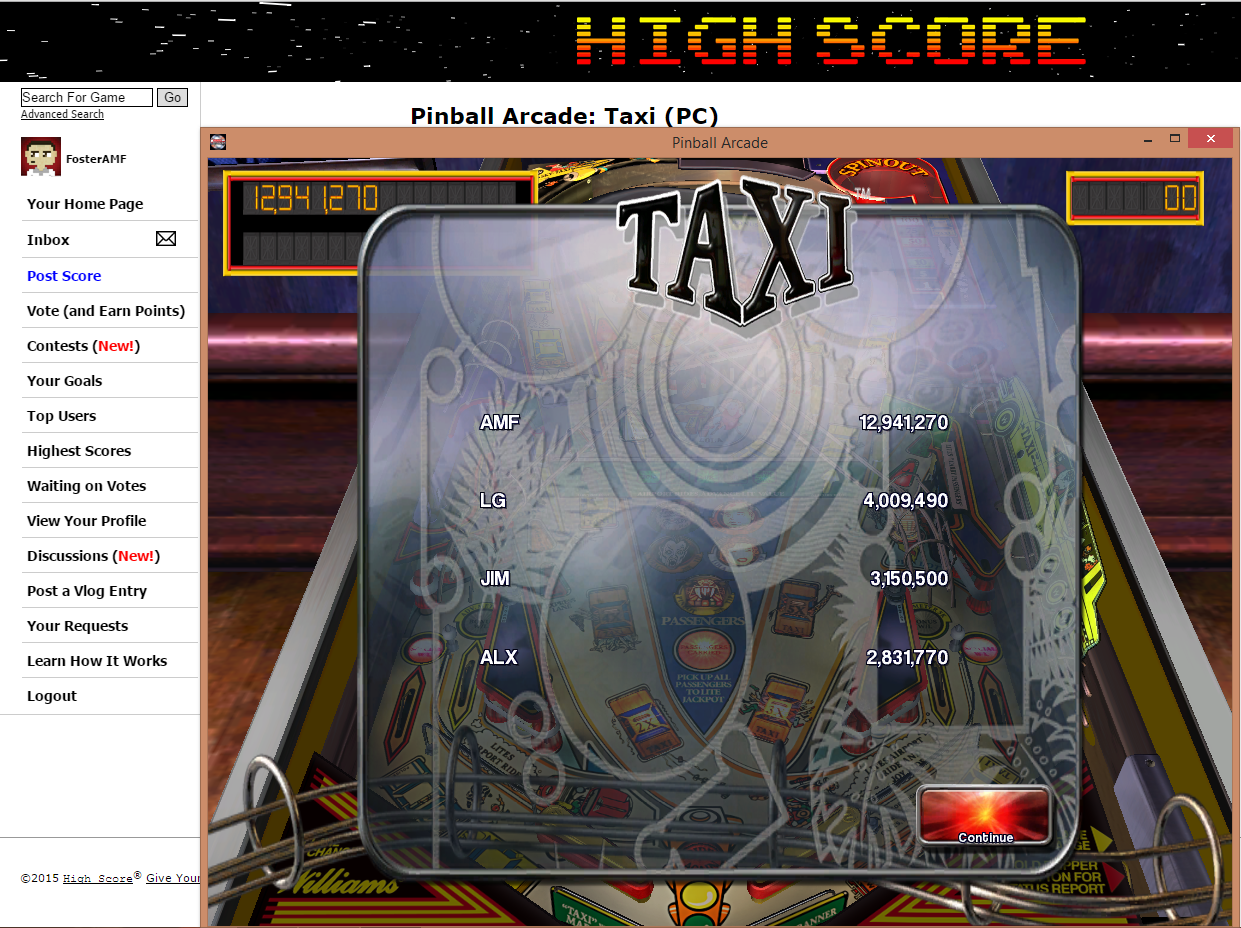 FosterAMF: Pinball Arcade: Taxi (PC) 12,941,270 points on 2015-07-07 03:11:05