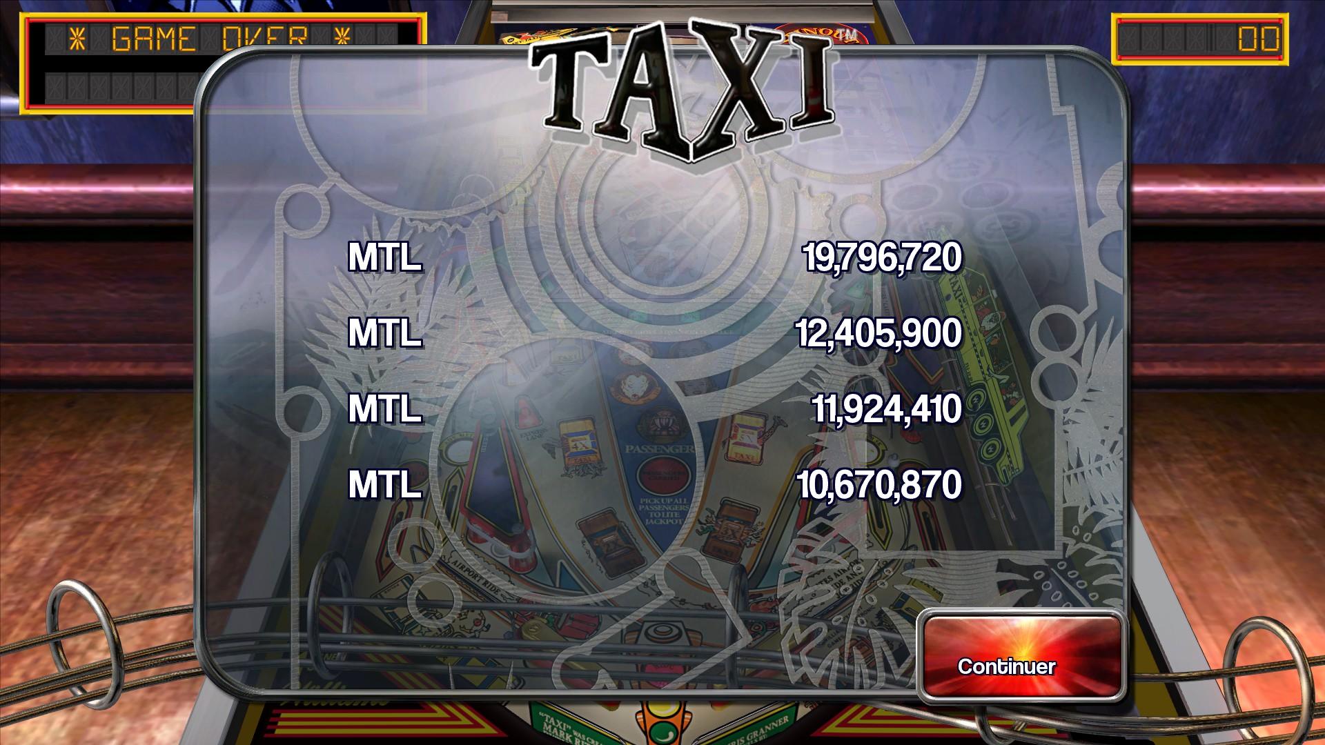 Mantalow: Pinball Arcade: Taxi (PC) 19,796,720 points on 2016-01-08 06:57:00