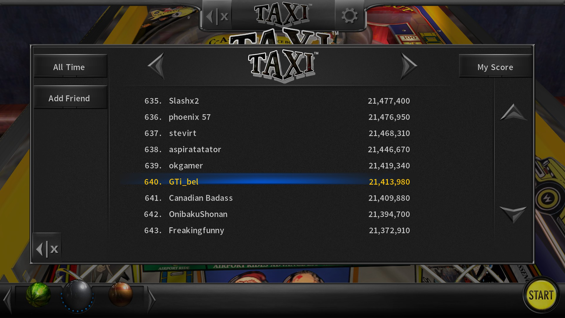 GTibel: Pinball Arcade: Taxi (PC) 21,413,980 points on 2020-07-17 04:41:17