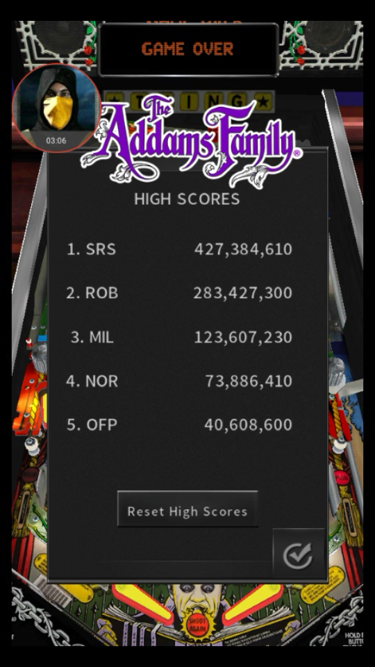 omargeddon: Pinball Arcade: The Addams Family (Android) 40,608,600 points on 2018-05-19 11:53:05