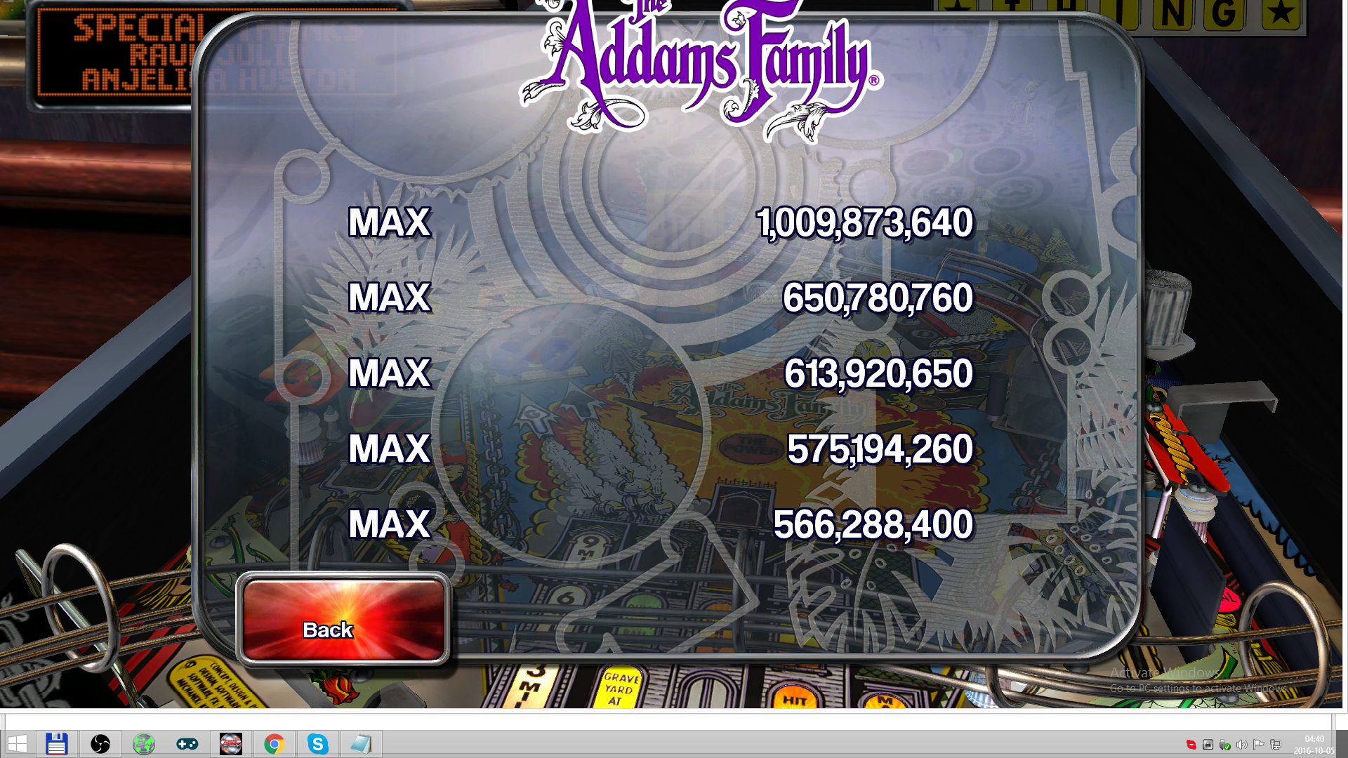 Pinball Arcade: The Addams Family 1,009,873,640 points