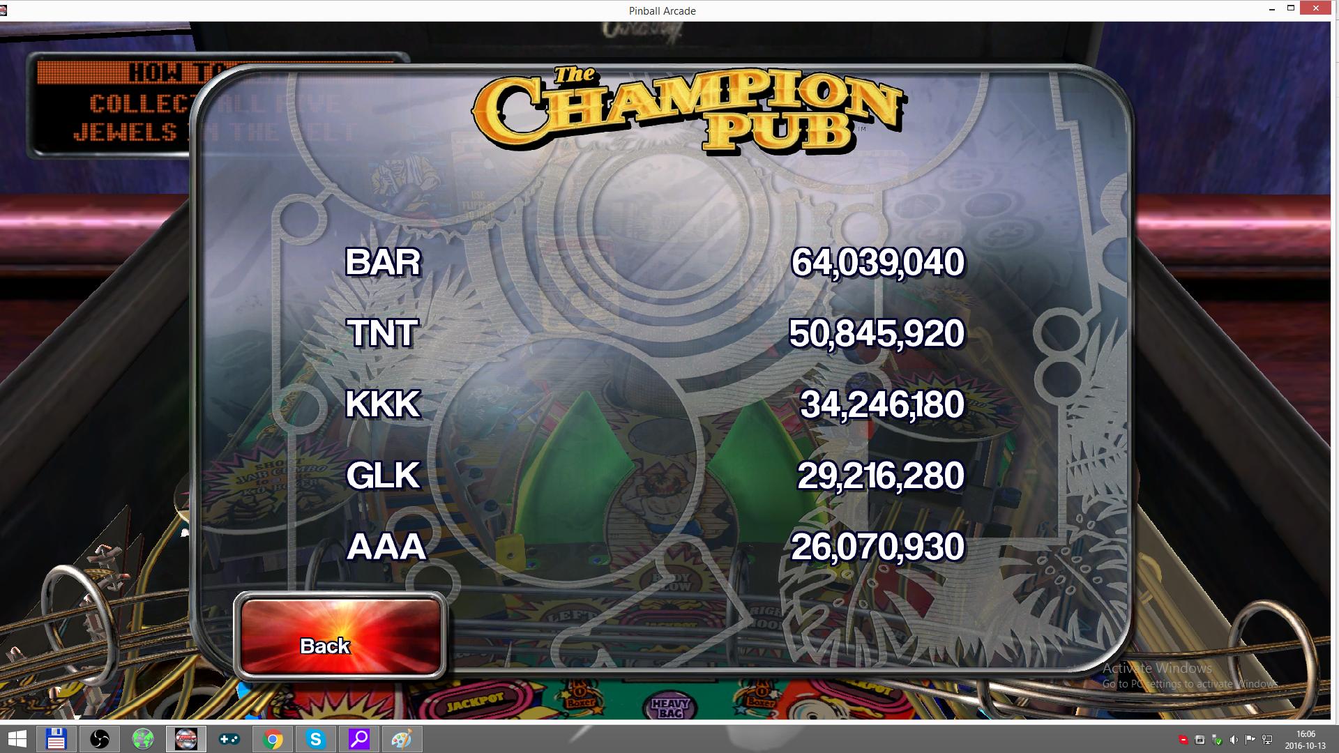 Pinball Arcade: The Champion Pub 26,070,930 points