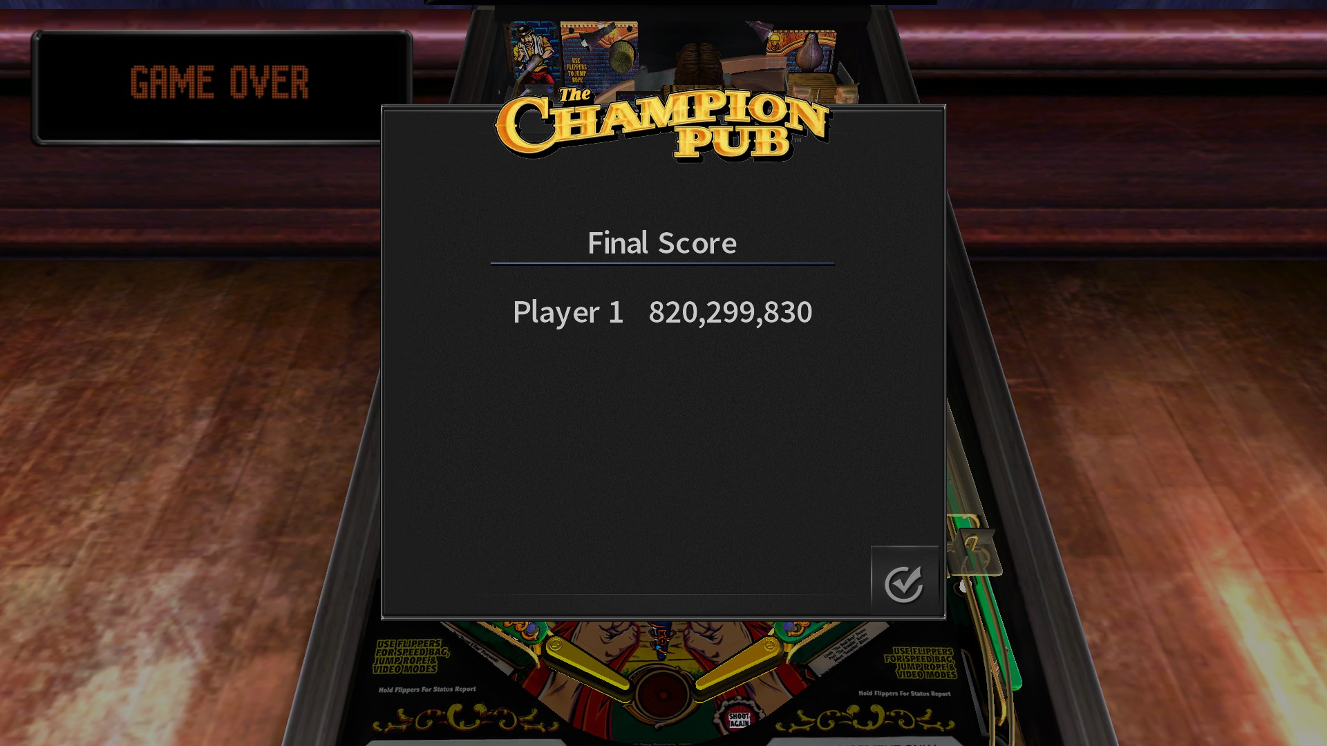 Pinball Arcade: The Champion Pub 820,299,830 points