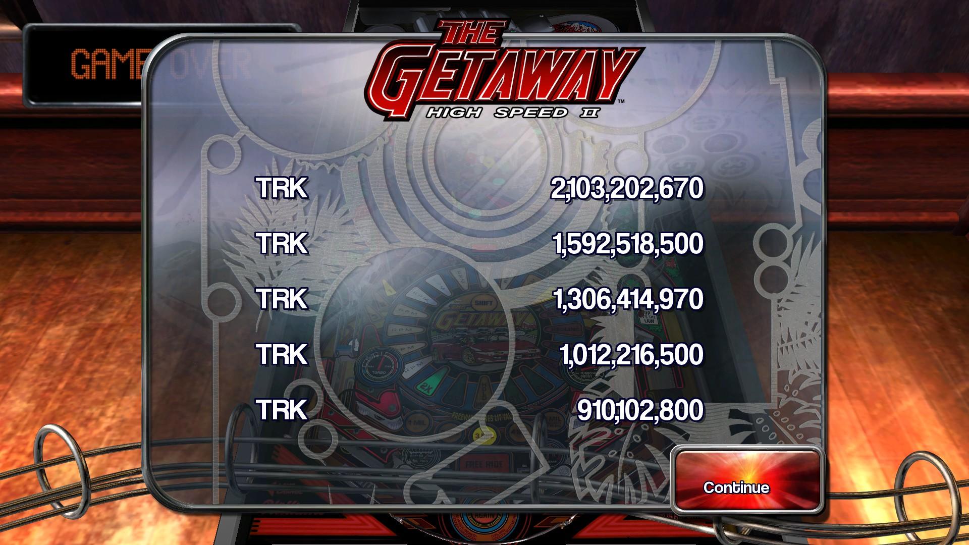 Pinball Arcade: The Getaway: High Speed II 2,103,202,670 points