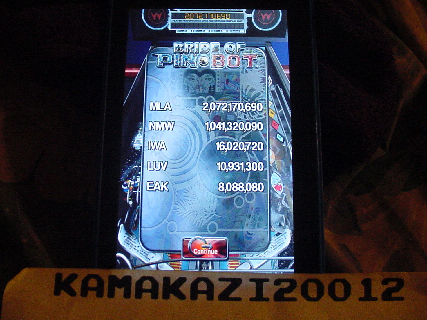 Pinball Arcade: The Machine: Bride of Pin*Bot 2,072,170,690 points
