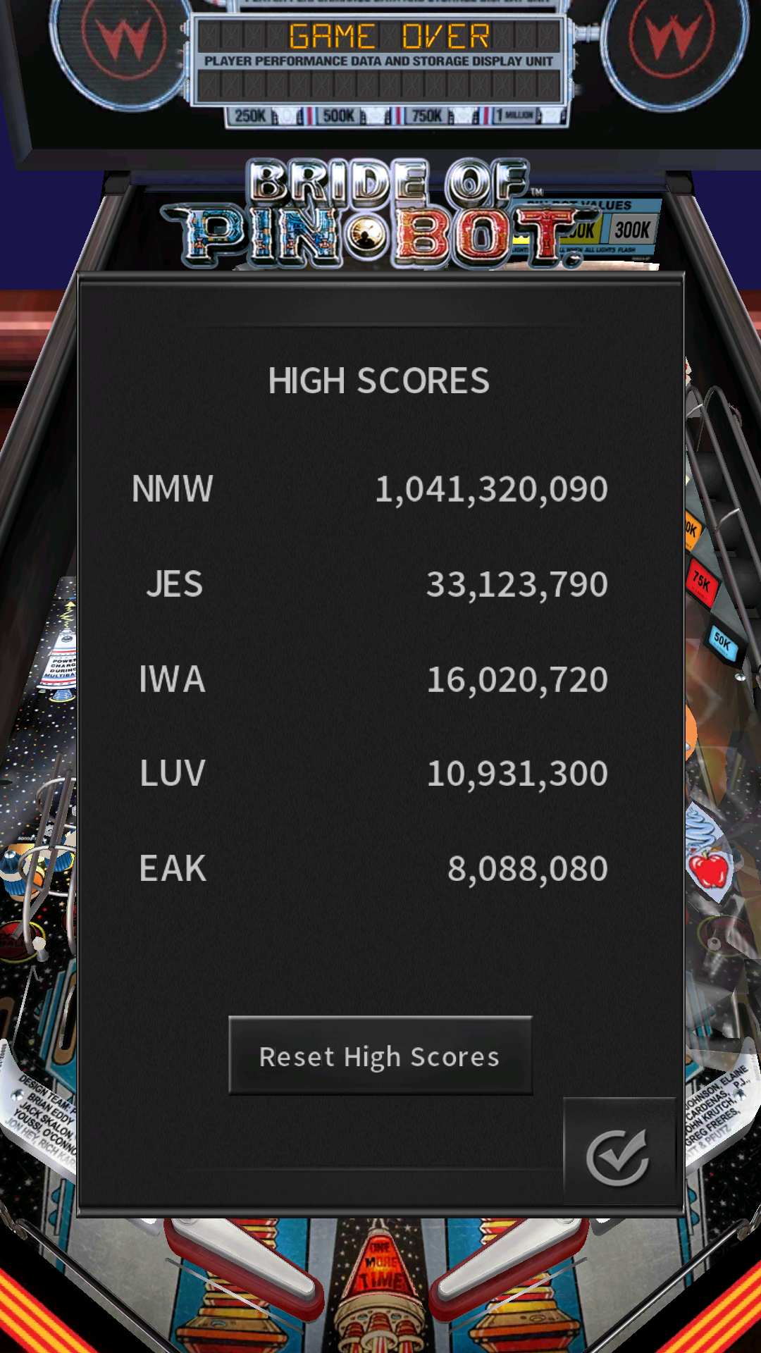 JES: Pinball Arcade: The Machine: Bride of Pin*Bot (Android) 33,123,790 points on 2016-12-04 21:06:16