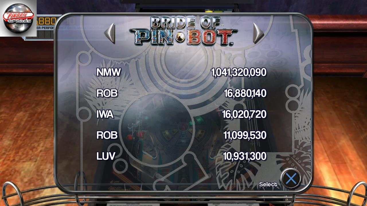 RetroRob: Pinball Arcade: The Machine: Bride of Pin*Bot (Playstation 4) 16,880,140 points on 2019-11-15 11:03:52