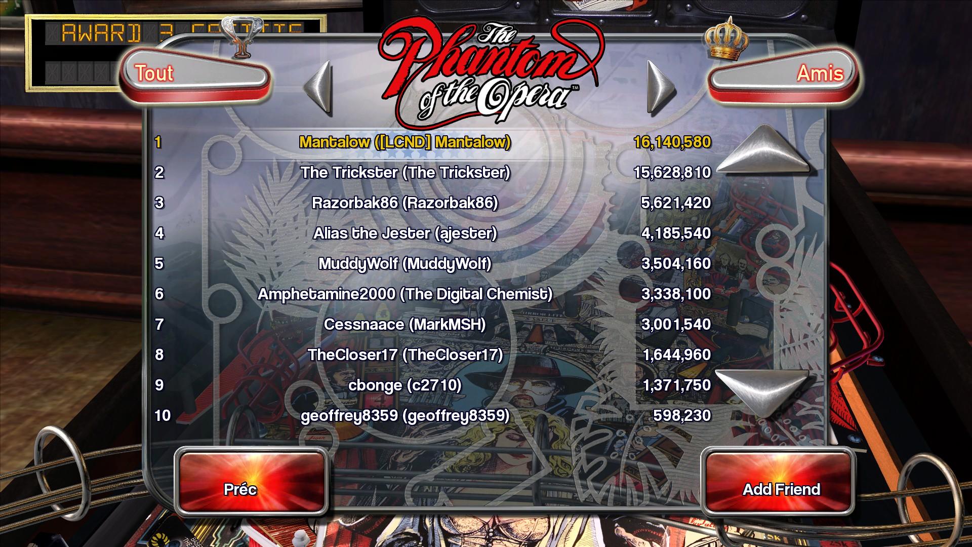 Mantalow: Pinball Arcade: The Phantom Of The Opera (PC) 16,140,580 points on 2015-10-04 12:32:02