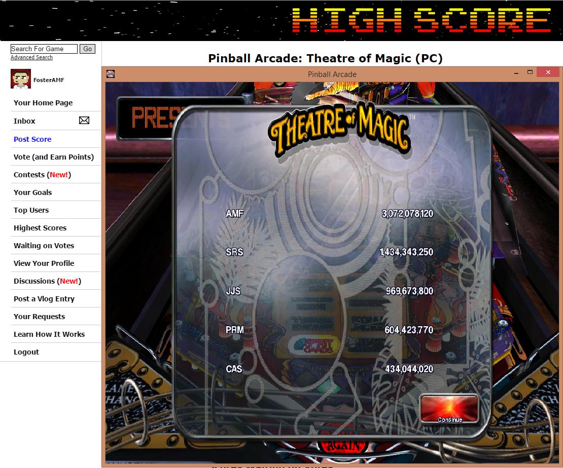 FosterAMF: Pinball Arcade: Theatre of Magic (PC) 3,072,078,120 points on 2015-07-08 01:02:25