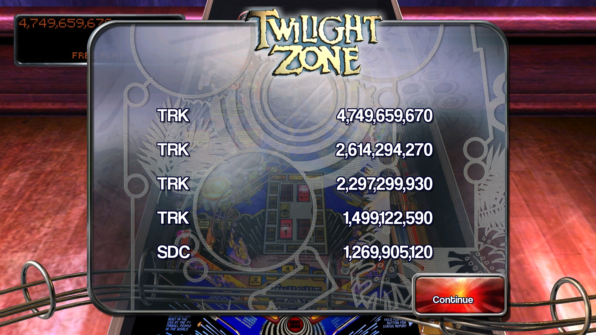 TheTrickster: Pinball Arcade: Twilight Zone (PC) 4,749,659,670 points on 2015-11-20 04:48:00