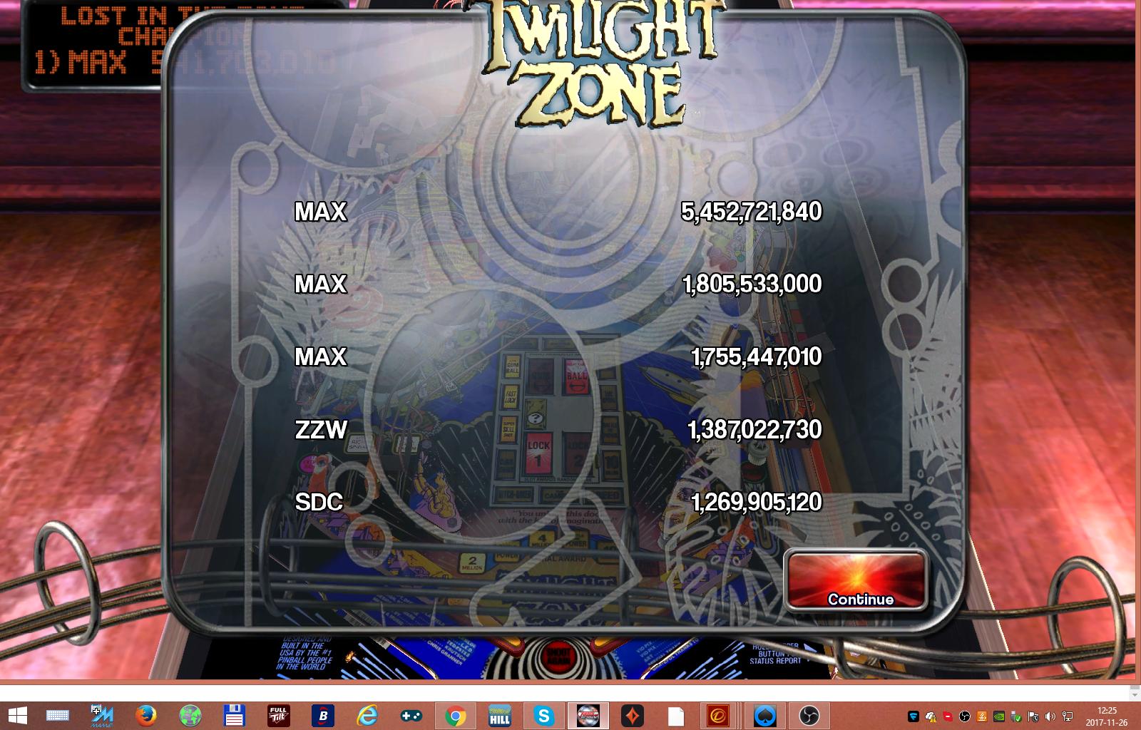 maxgreat: Pinball Arcade: Twilight Zone (PC) 5,452,721,840 points on 2017-11-26 05:25:59