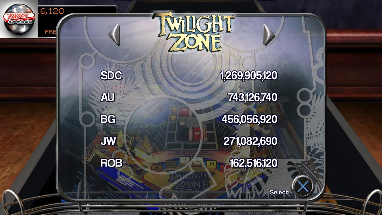 RetroRob: Pinball Arcade: Twilight Zone (Playstation 4) 162,516,120 points on 2019-09-21 05:49:21