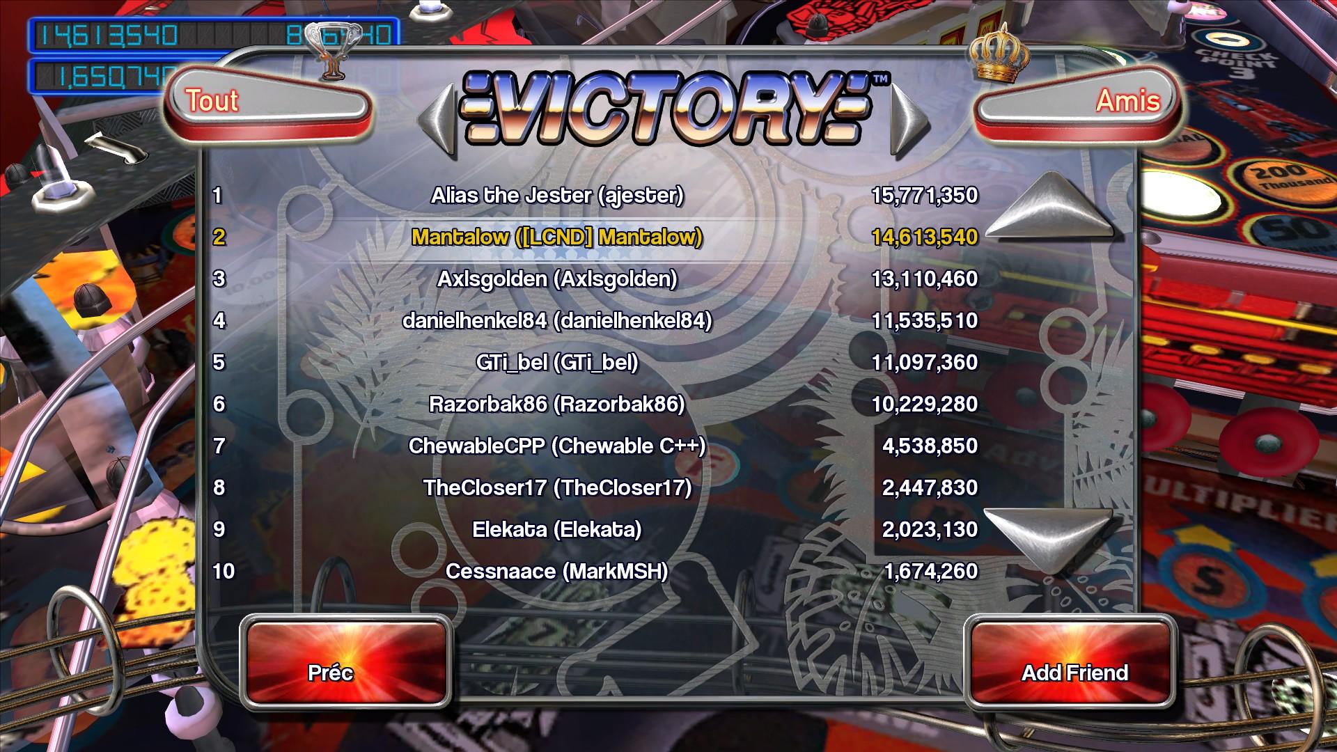 Mantalow: Pinball Arcade: Victory (PC) 14,613,540 points on 2015-07-01 15:31:03