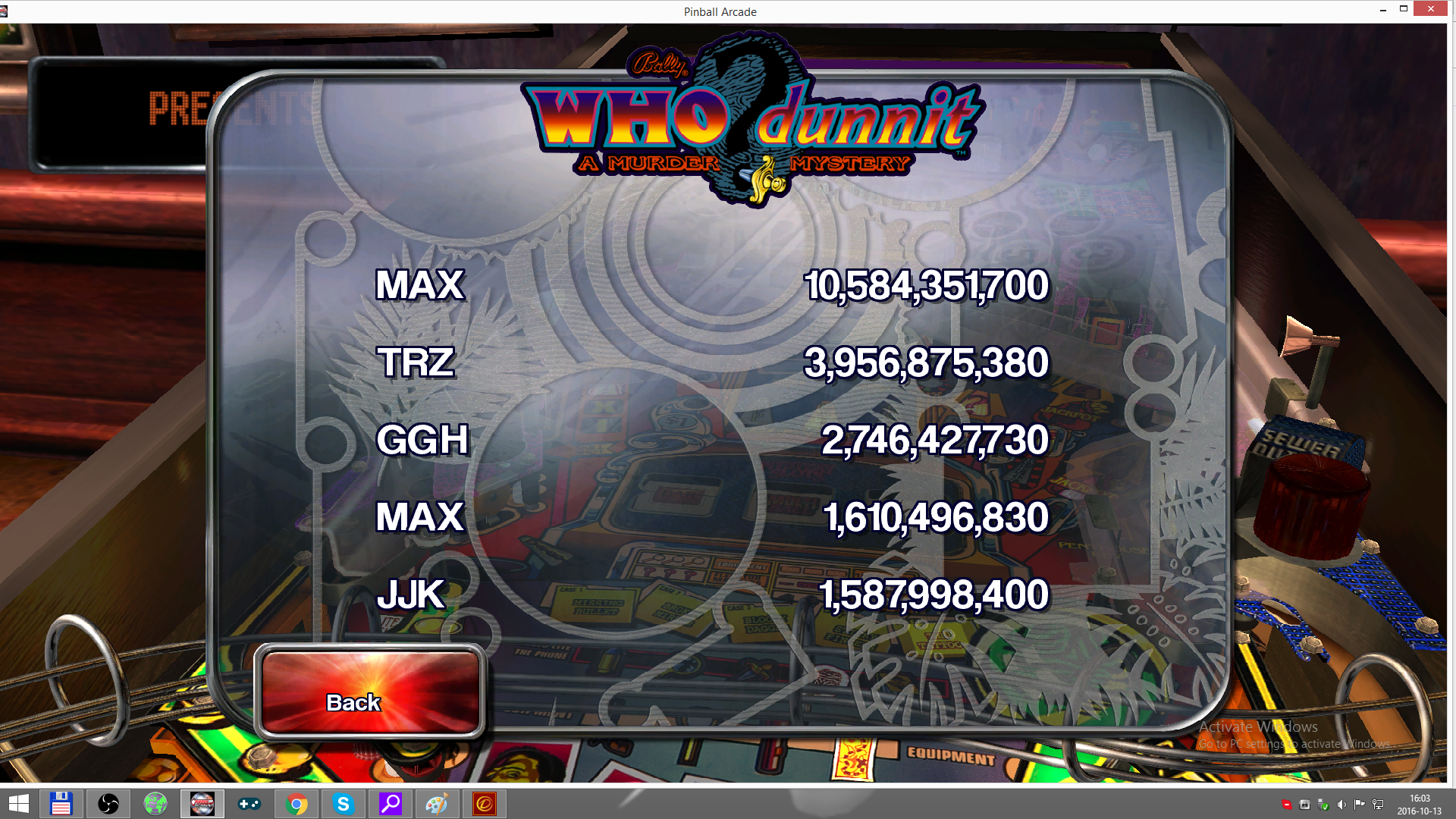 Pinball Arcade: WHO Dunnit 10,584,351,700 points