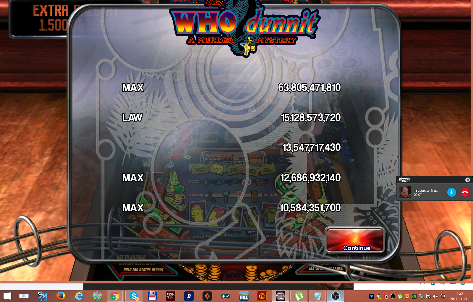 Pinball Arcade: WHO Dunnit 63,805,471,810 points