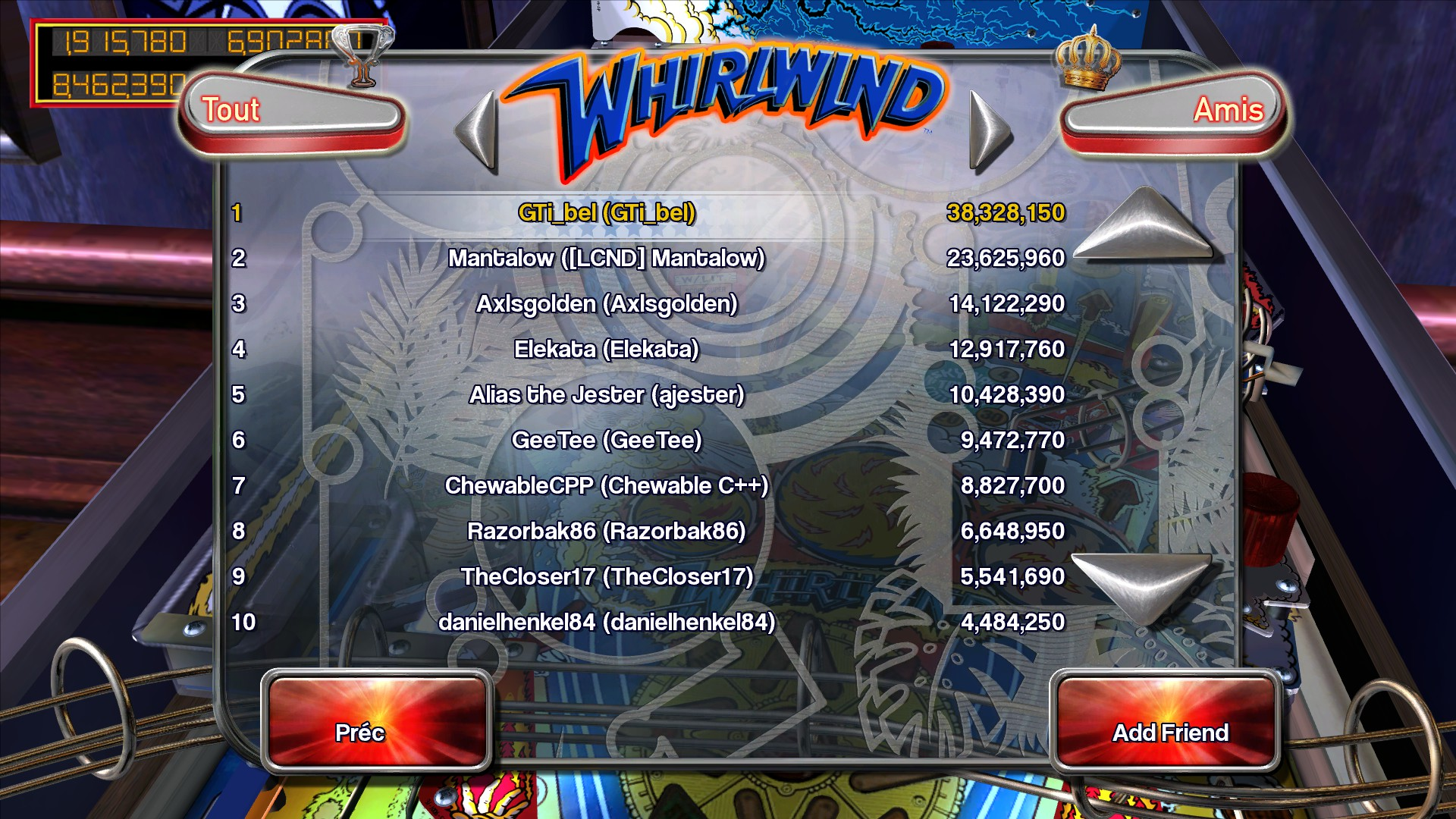 Mantalow: Pinball Arcade: Whirlwind (PC) 23,625,960 points on 2015-07-01 15:28:18