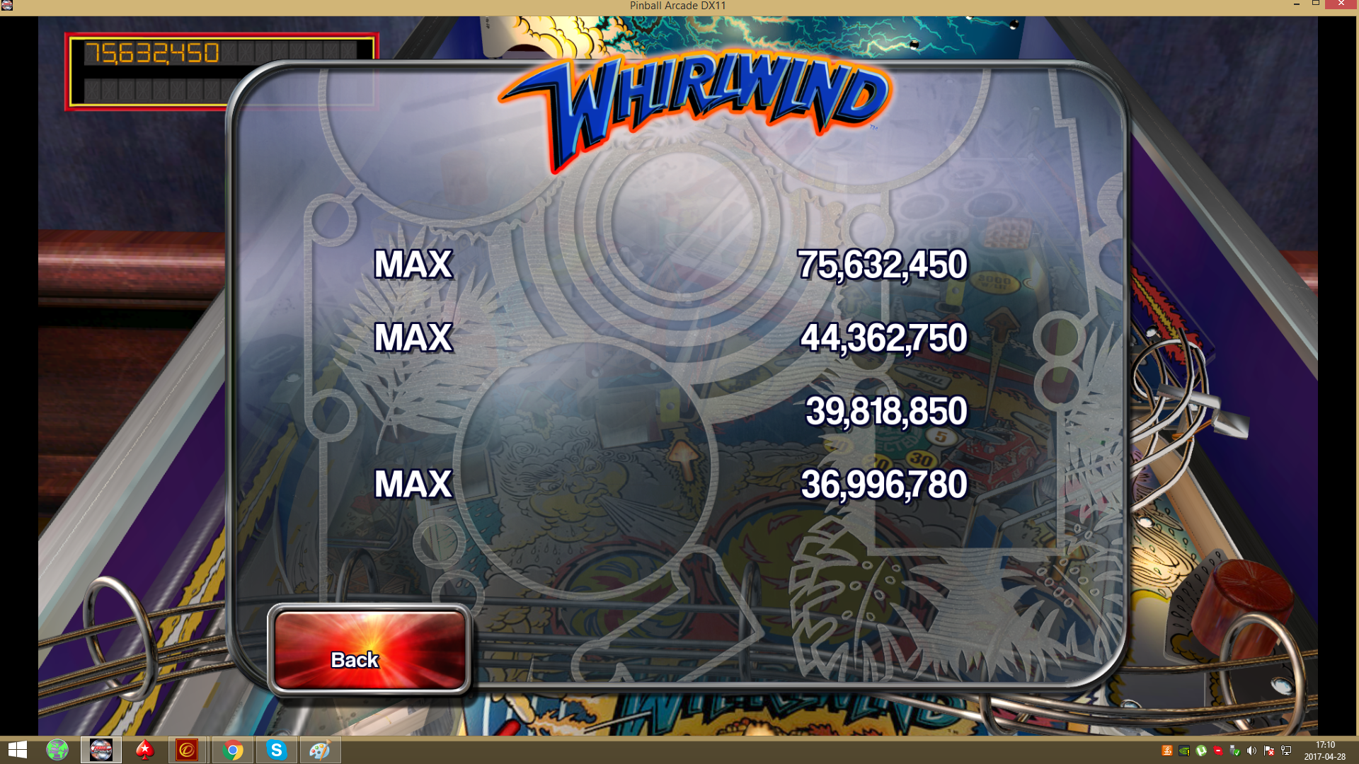 Pinball Arcade: Whirlwind 75,623,450 points