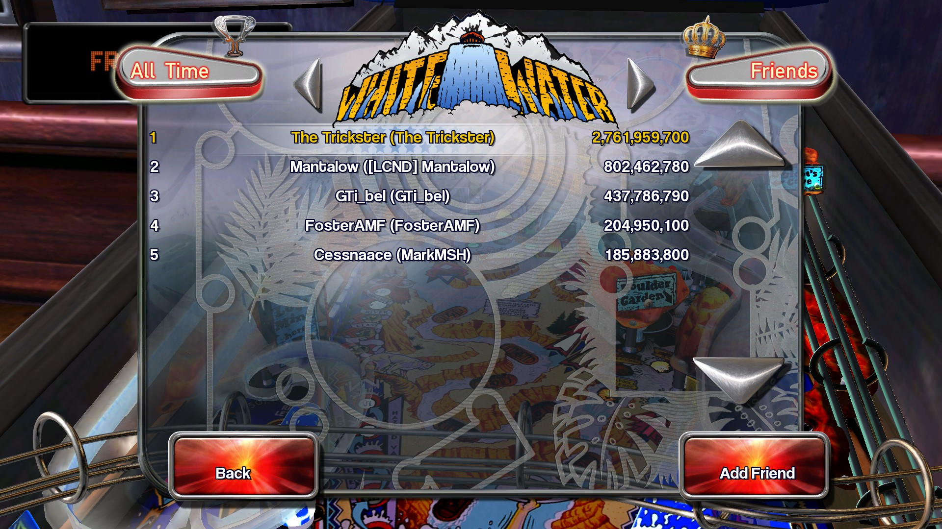 Pinball Arcade: White Water 2,761,959,700 points