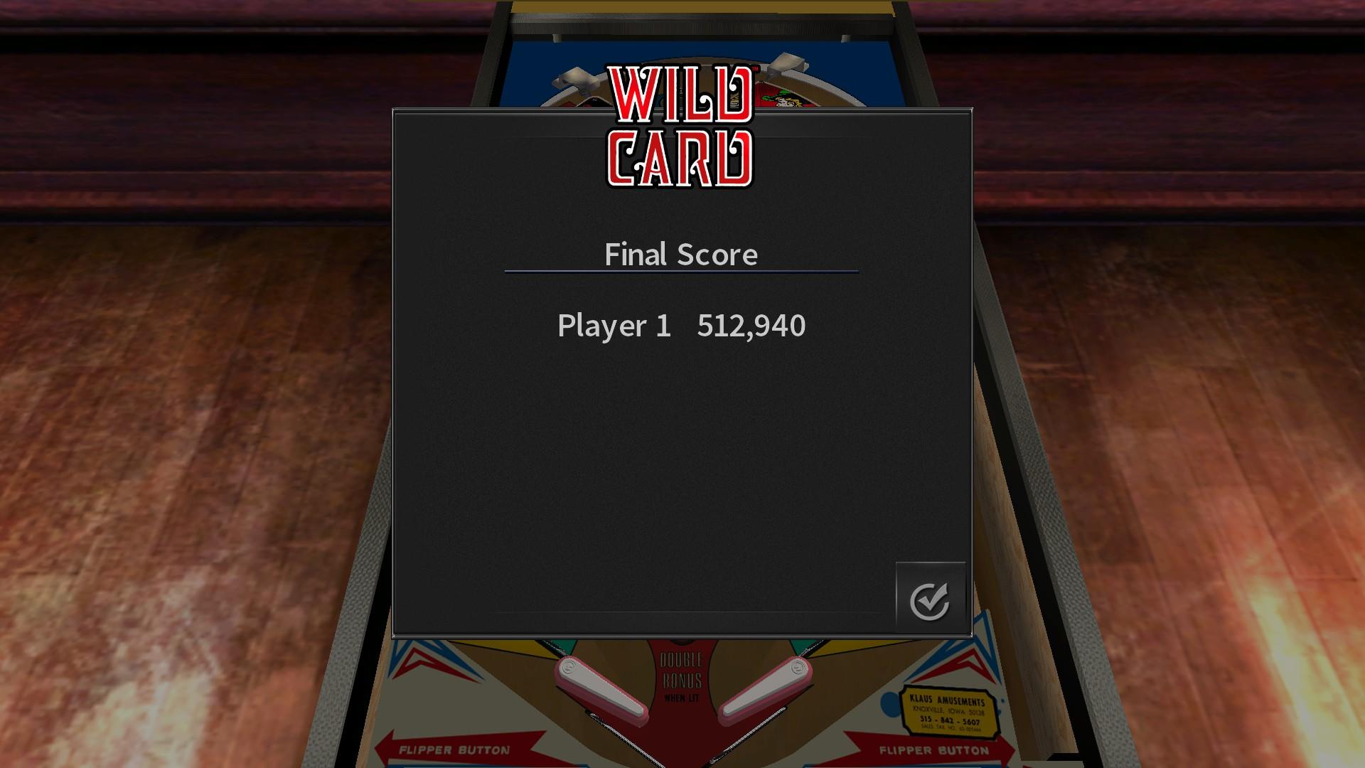 Mantalow: Pinball Arcade: Wild Card (PC) 512,940 points on 2018-01-16 03:05:09