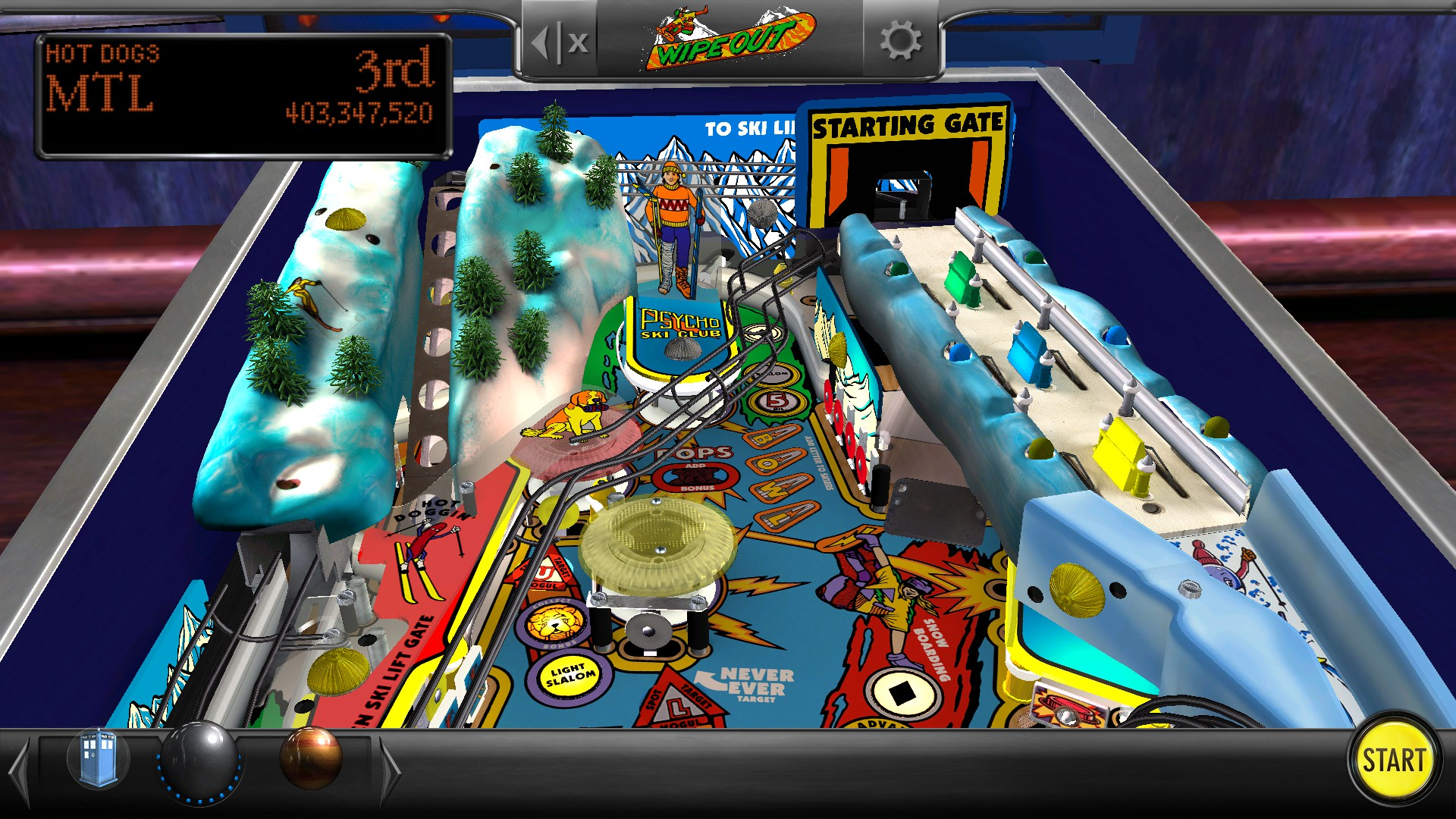 Mantalow: Pinball Arcade: Wipeout (PC) 403,347,520 points on 2017-07-03 01:35:23