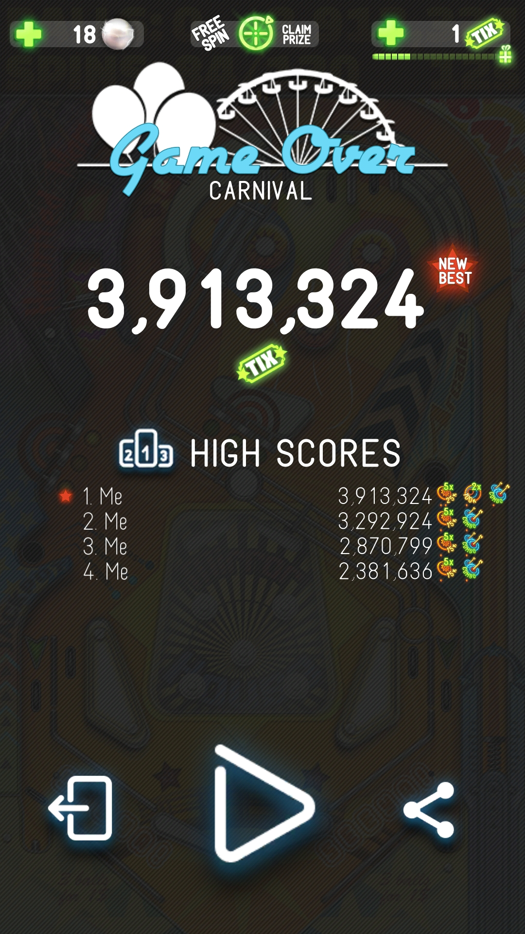 Pinball Deluxe: Carnival 3,913,324 points