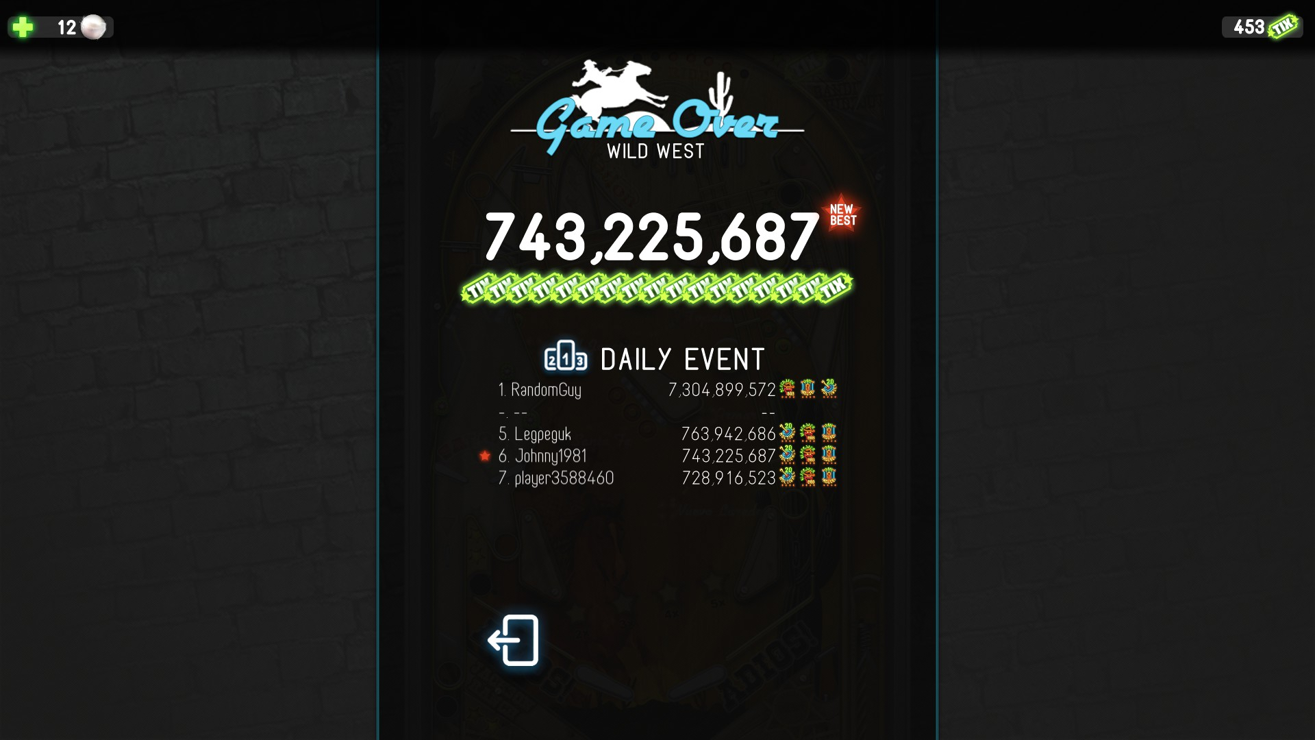 Pinball Deluxe: Reloaded: Wild West 743,225,687 points