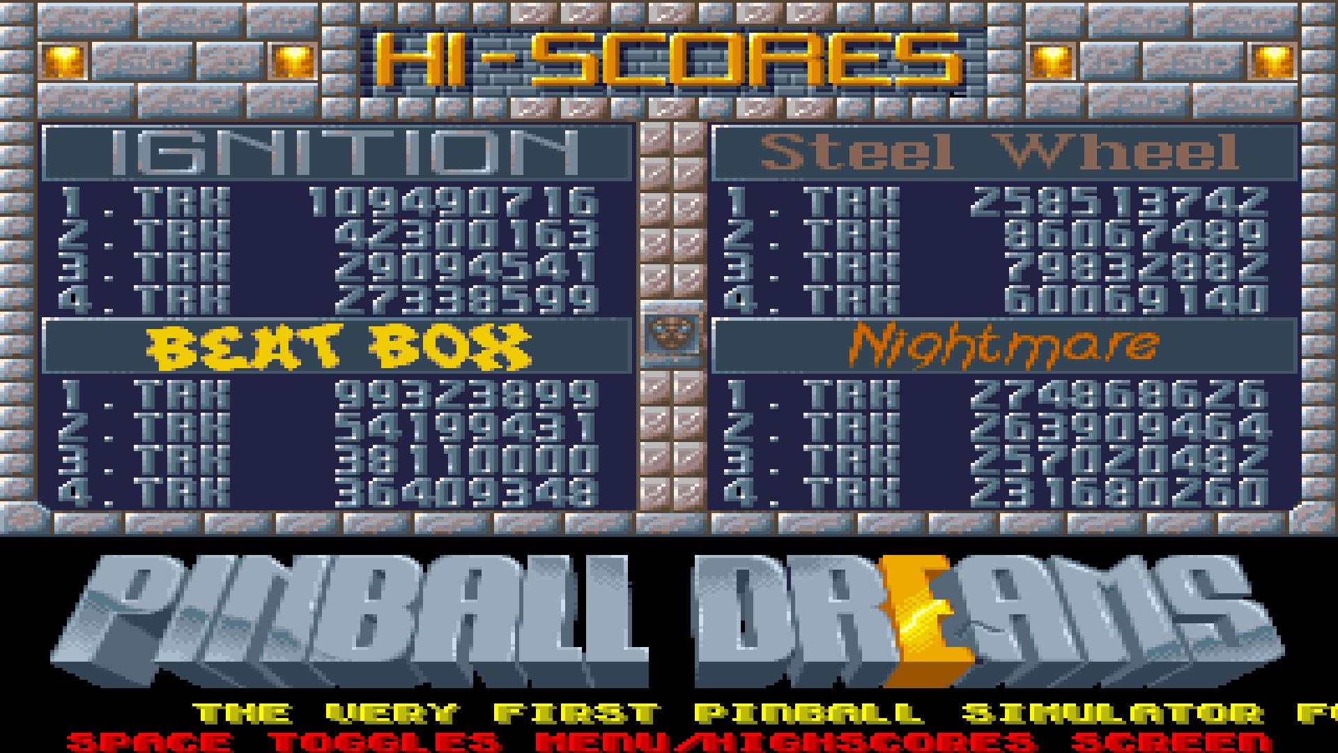 Pinball Dreams: Steel Wheel 258,513,742 points
