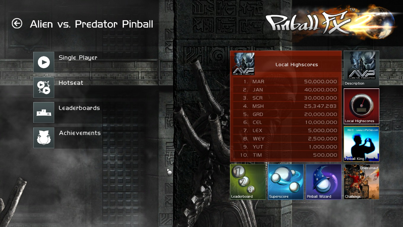 Mark: Pinball FX 2: Alien vs. Predator (PC) 25,347,283 points on 2018-09-12 00:16:46