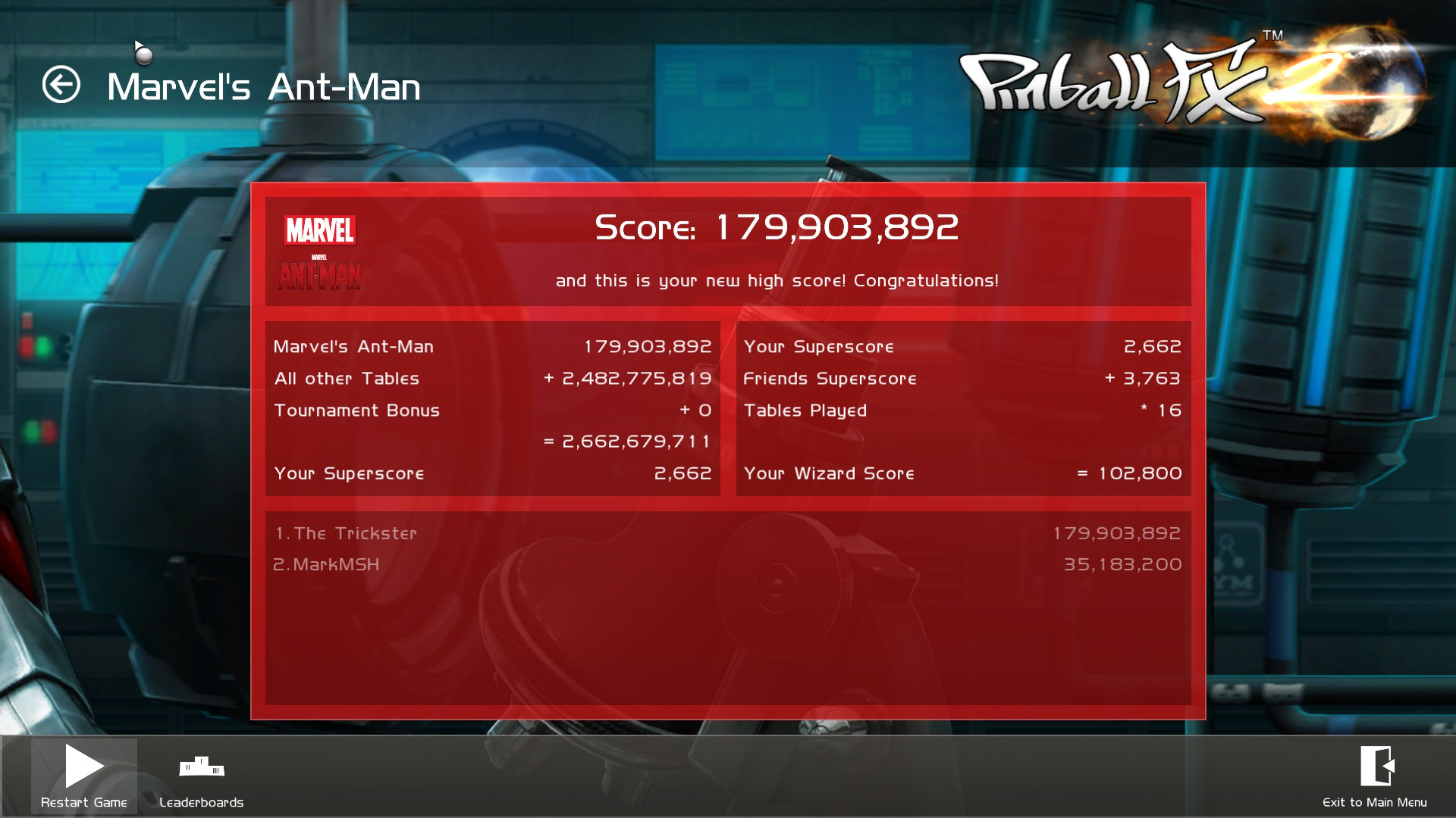 TheTrickster: Pinball FX 2: Ant-Man (PC) 179,903,892 points on 2016-01-07 06:59:31