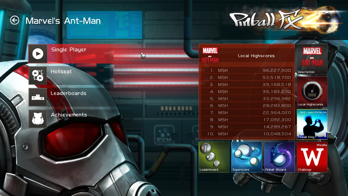 Mark: Pinball FX 2: Ant-Man (PC) 96,227,900 points on 2018-05-23 01:04:53