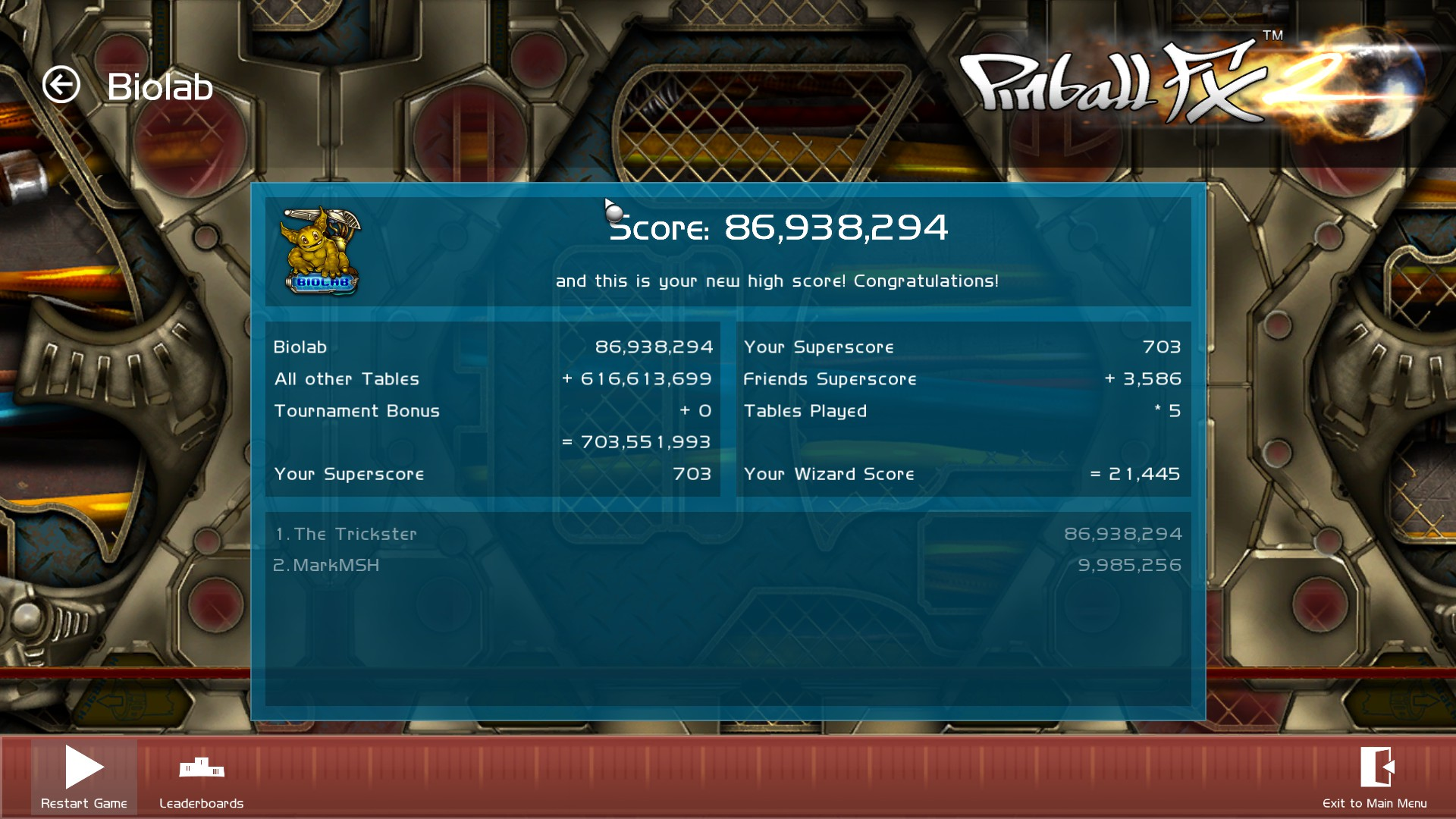 TheTrickster: Pinball FX 2: Biolab (PC) 86,938,294 points on 2015-12-07 06:33:51