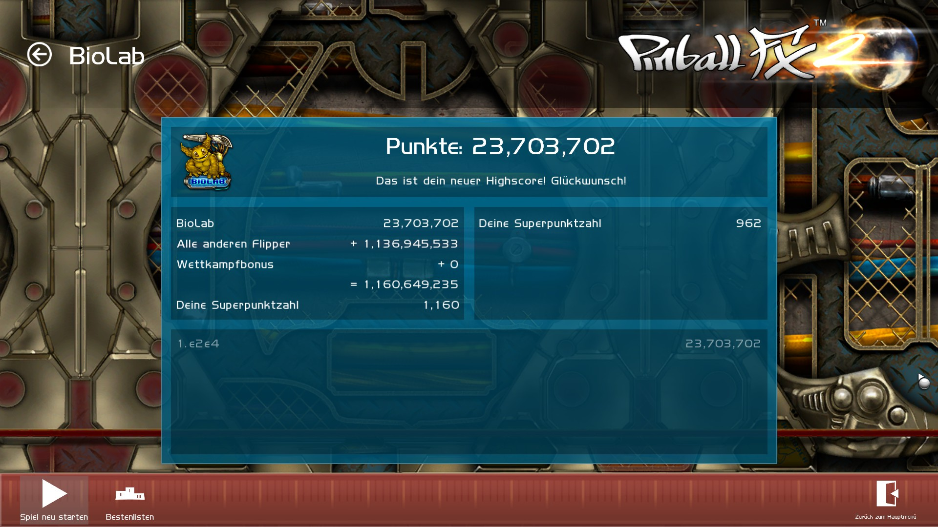 Pinball FX 2: Biolab 23,703,702 points