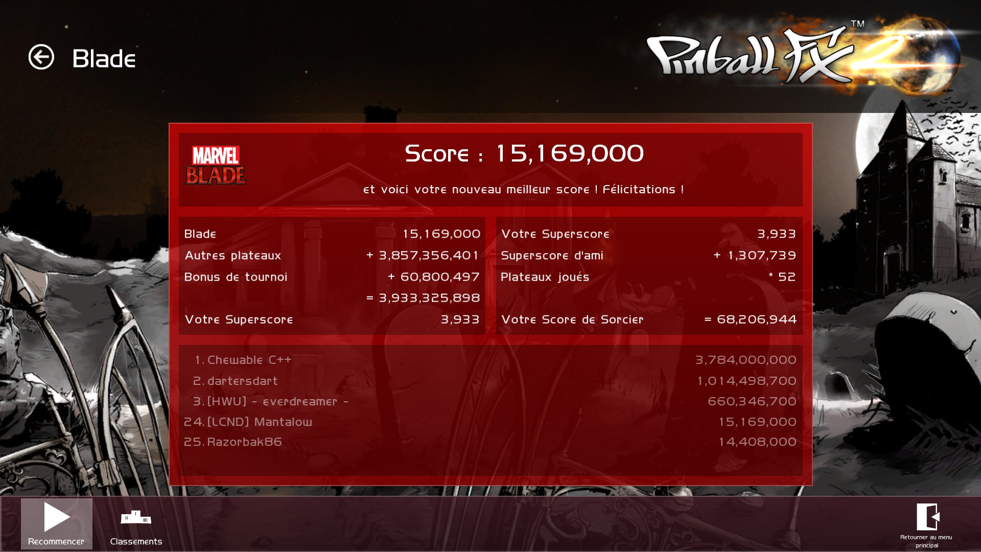 Mantalow: Pinball FX 2: Blade (PC) 15,169,000 points on 2015-06-27 07:40:50