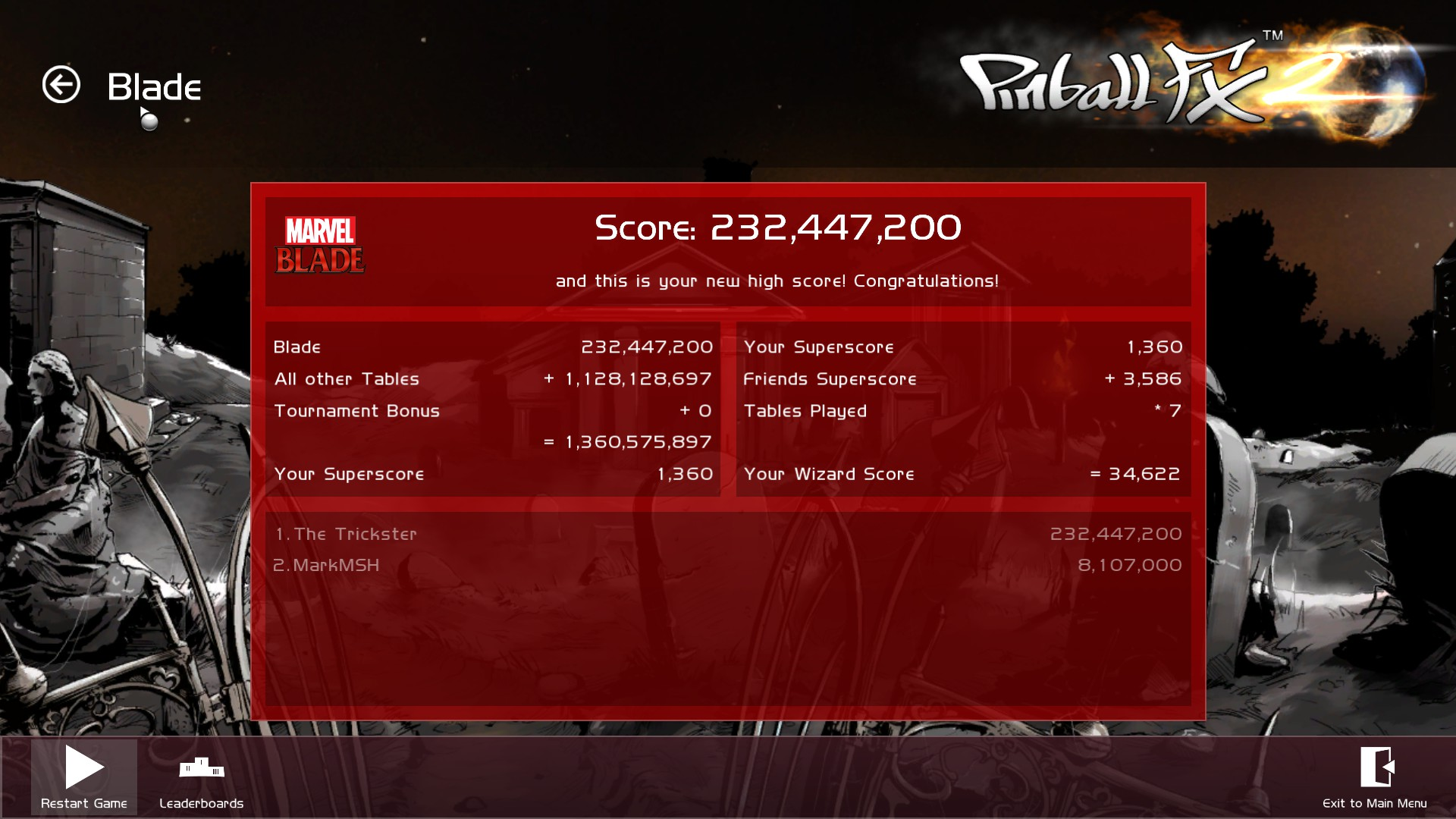 TheTrickster: Pinball FX 2: Blade (PC) 232,447,200 points on 2015-12-09 06:36:28