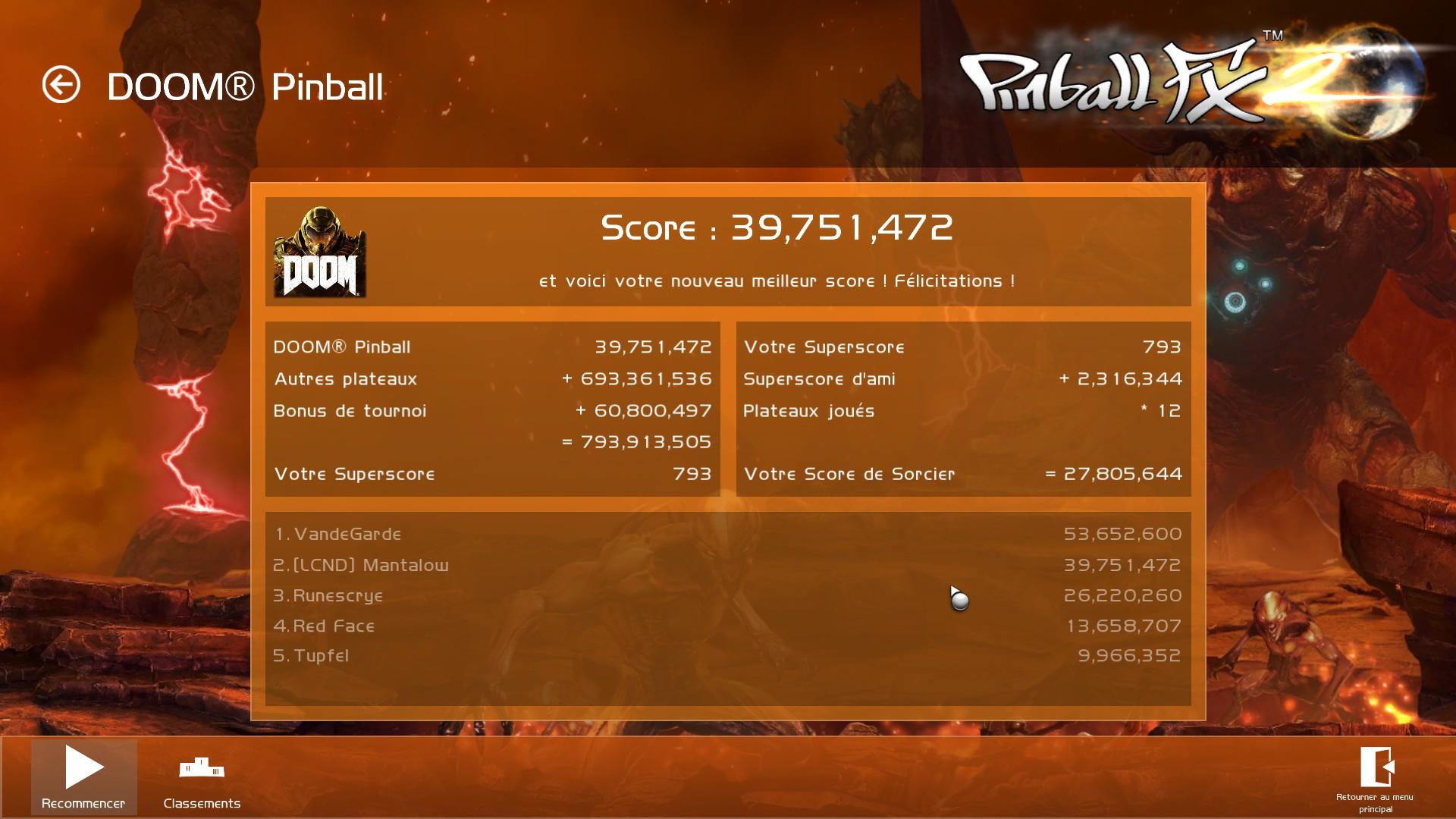 Mantalow: Pinball FX 2: Doom Pinball (PC) 39,751,472 points on 2016-12-08 04:32:51