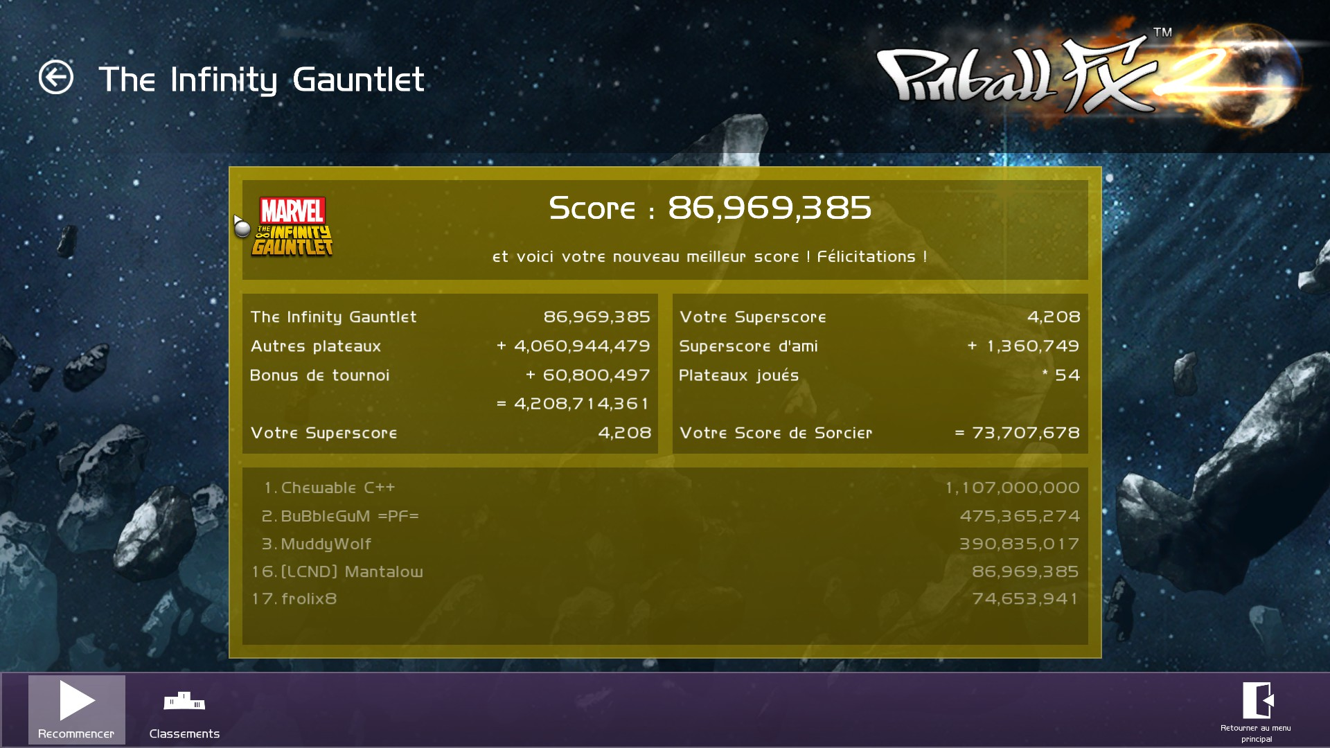 Mantalow: Pinball FX 2: Infinity Gauntlet (PC) 86,969,385 points on 2015-07-22 04:43:31