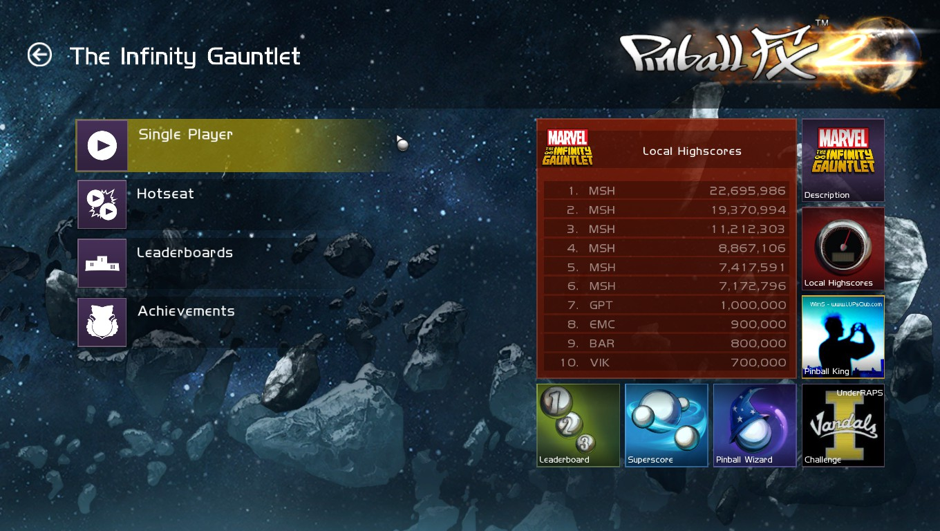 Mark: Pinball FX 2: Infinity Gauntlet (PC) 22,695,986 points on 2018-05-23 02:25:53