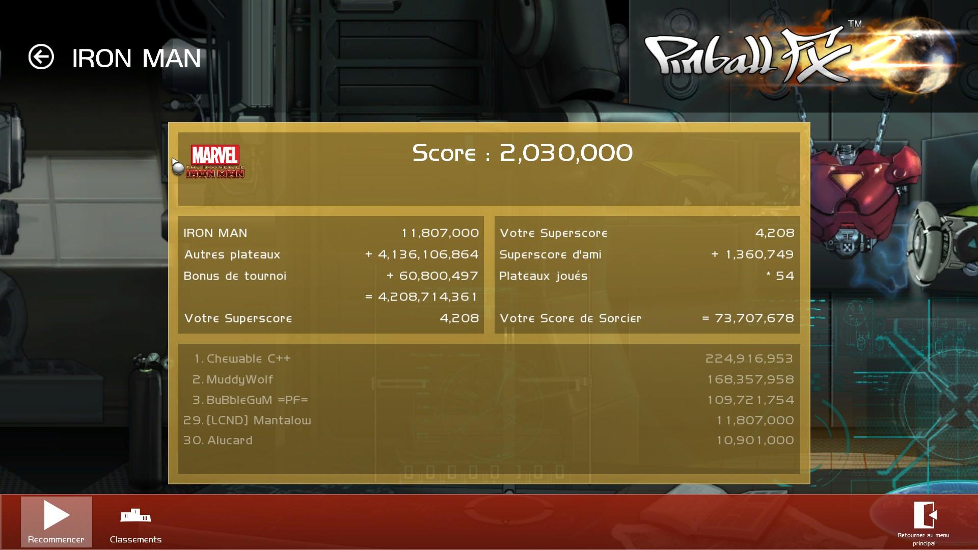 Mantalow: Pinball FX 2: Iron Man (PC) 11,807,000 points on 2015-07-22 04:44:01