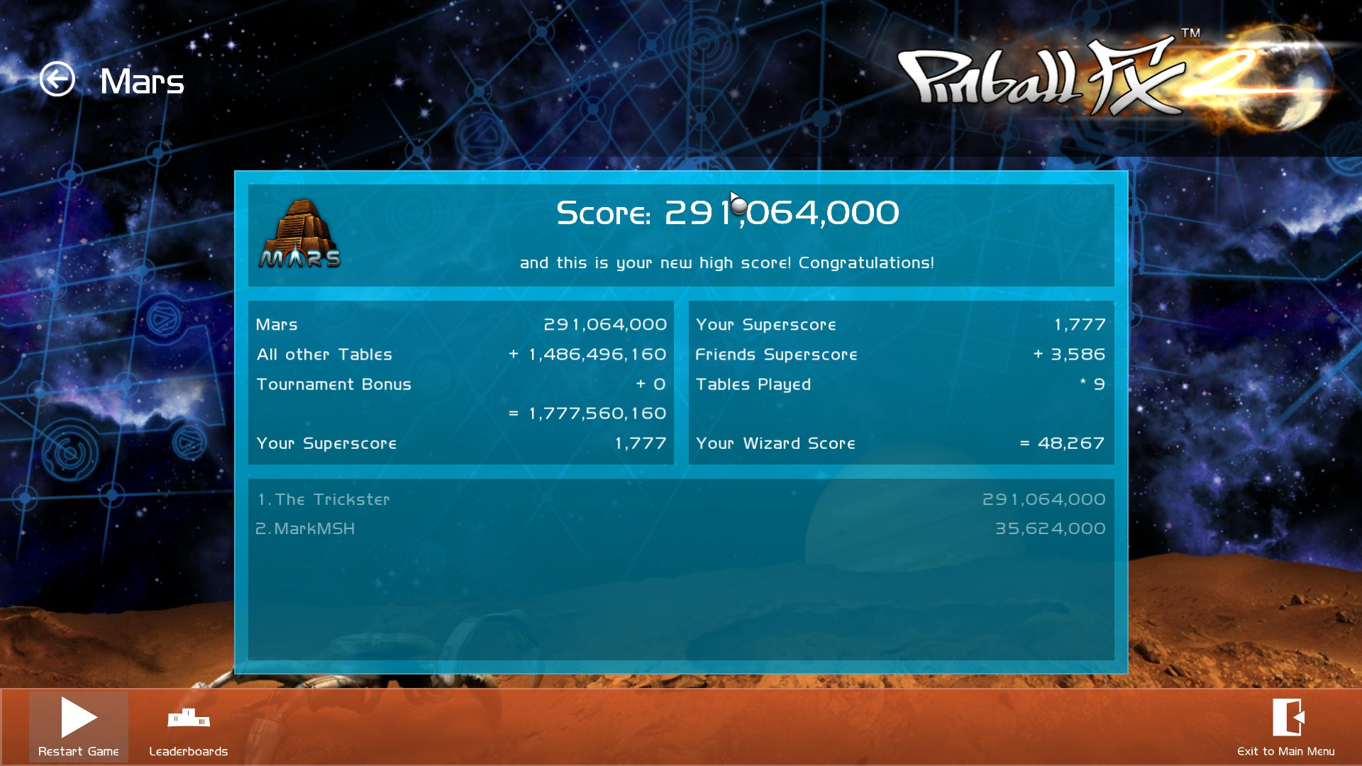 Pinball FX 2: Mars 291,064,000 points