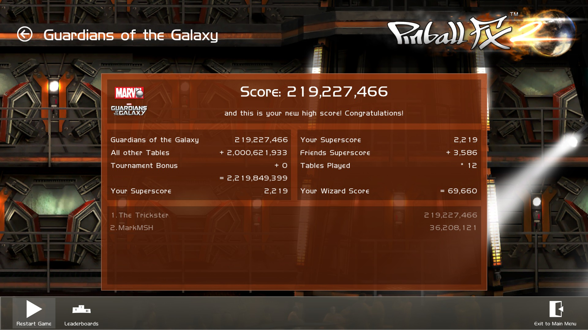 TheTrickster: Pinball FX 2: Marvel Guardians of the Galaxy (PC) 219,227,466 points on 2015-12-13 02:46:02