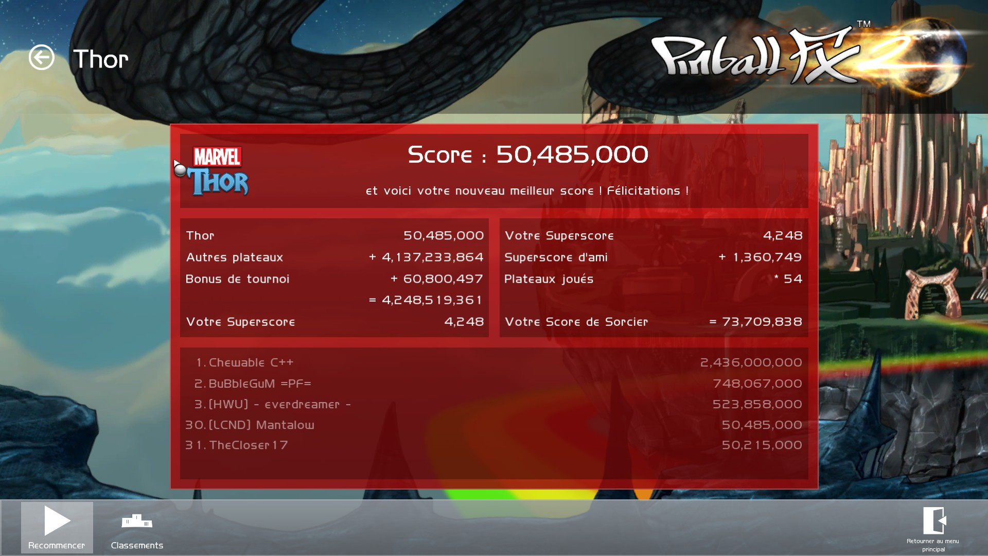 Mantalow: Pinball FX 2: Marvel: Thor (PC) 50,485,000 points on 2015-07-22 04:45:05