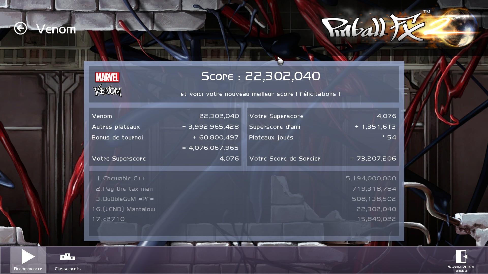 Mantalow: Pinball FX 2: Marvel: Venom (PC) 22,302,040 points on 2015-07-17 16:01:12