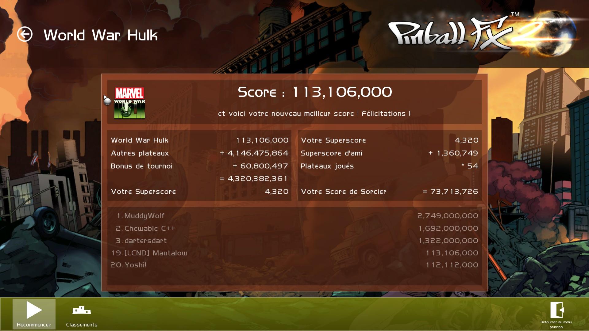 Mantalow: Pinball FX 2: Marvel: World War Hulk (PC) 113,106,000 points on 2015-07-22 04:45:40