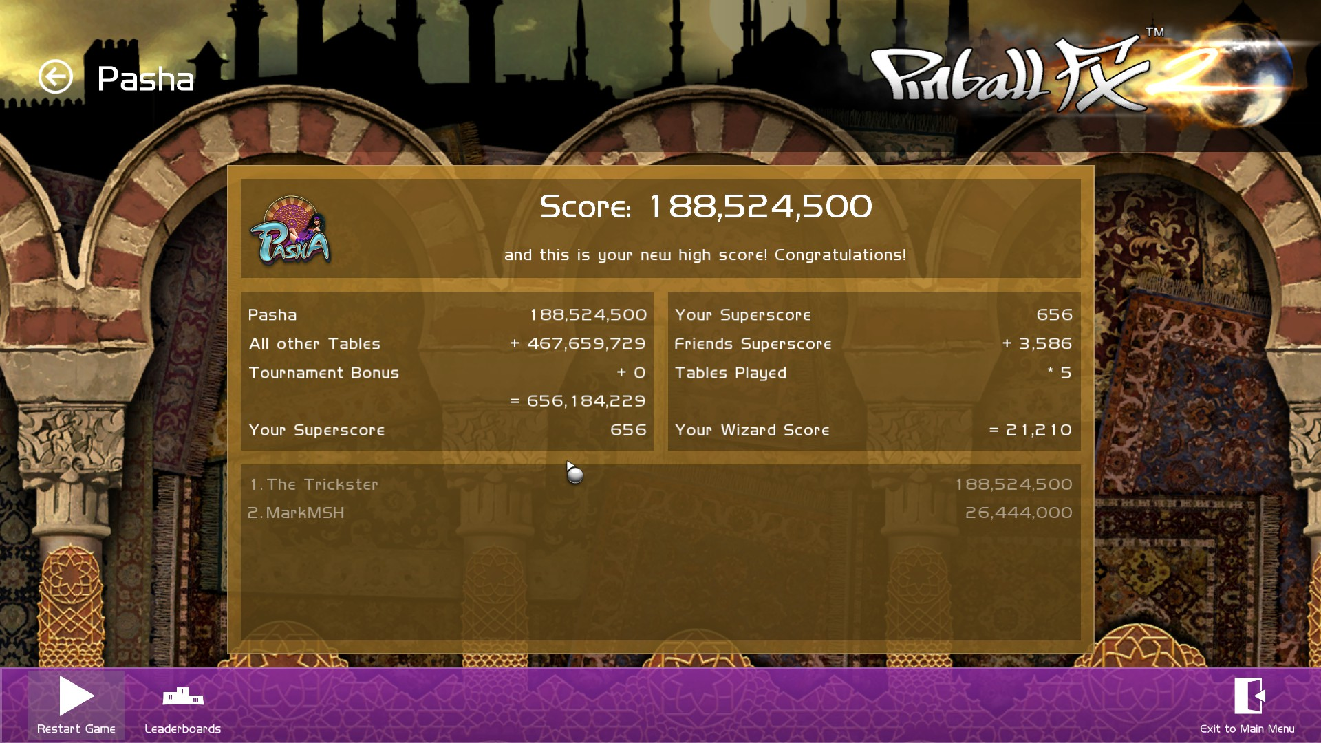Pinball FX 2: Pasha 188,524,500 points