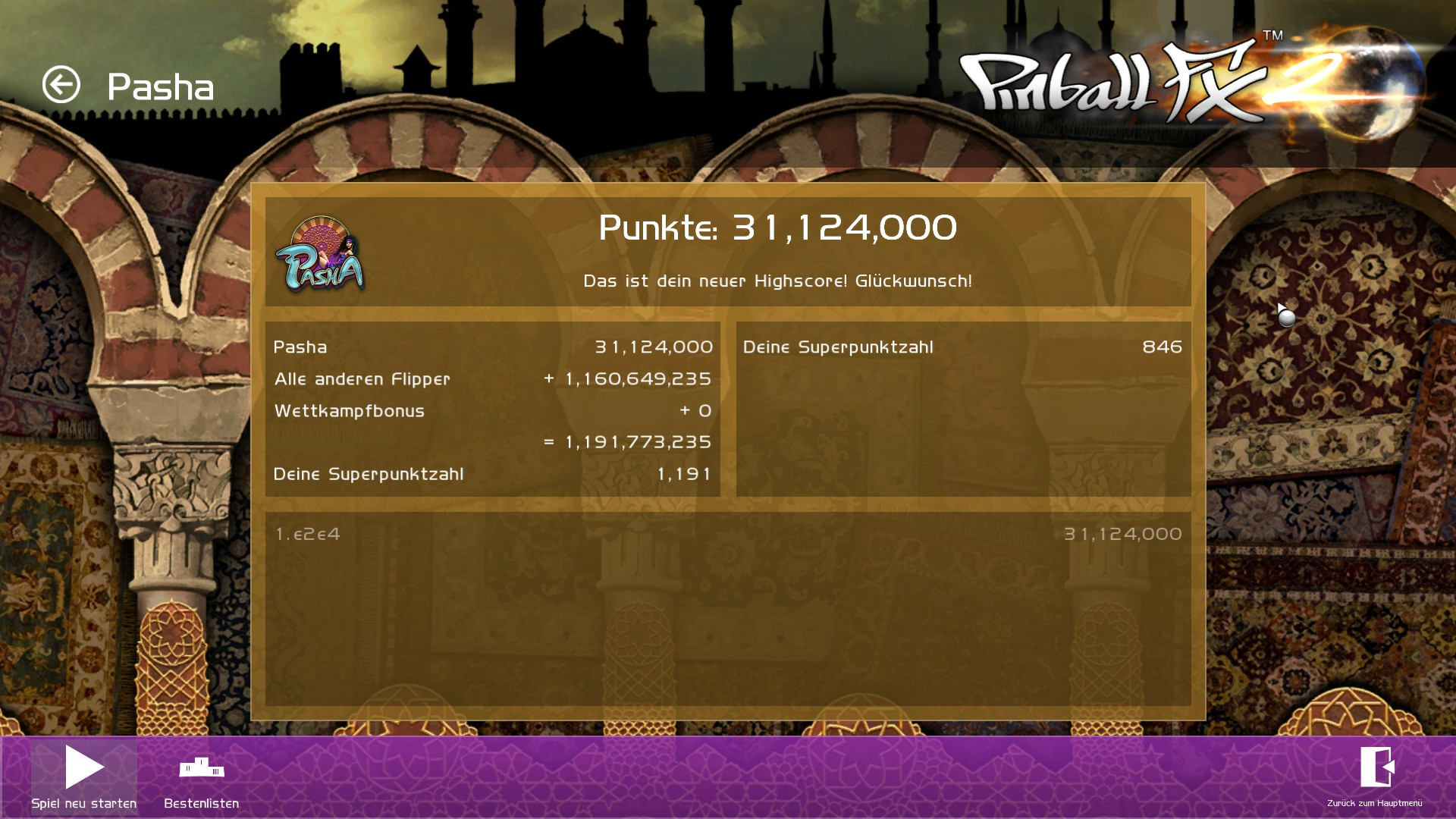 Pinball FX 2: Pasha 31,124,000 points