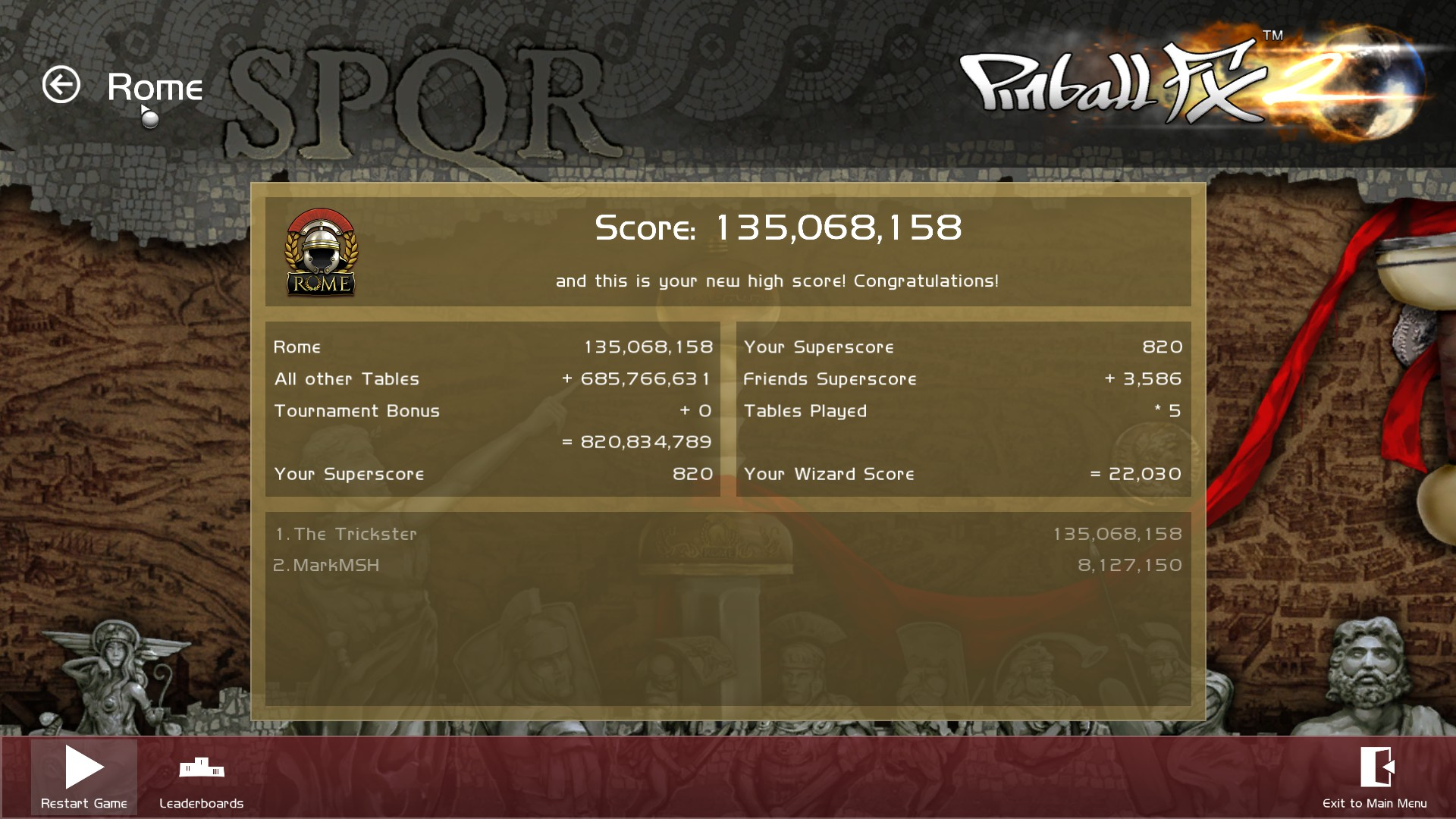 TheTrickster: Pinball FX 2: Rome (PC) 135,068,158 points on 2015-12-08 06:22:18