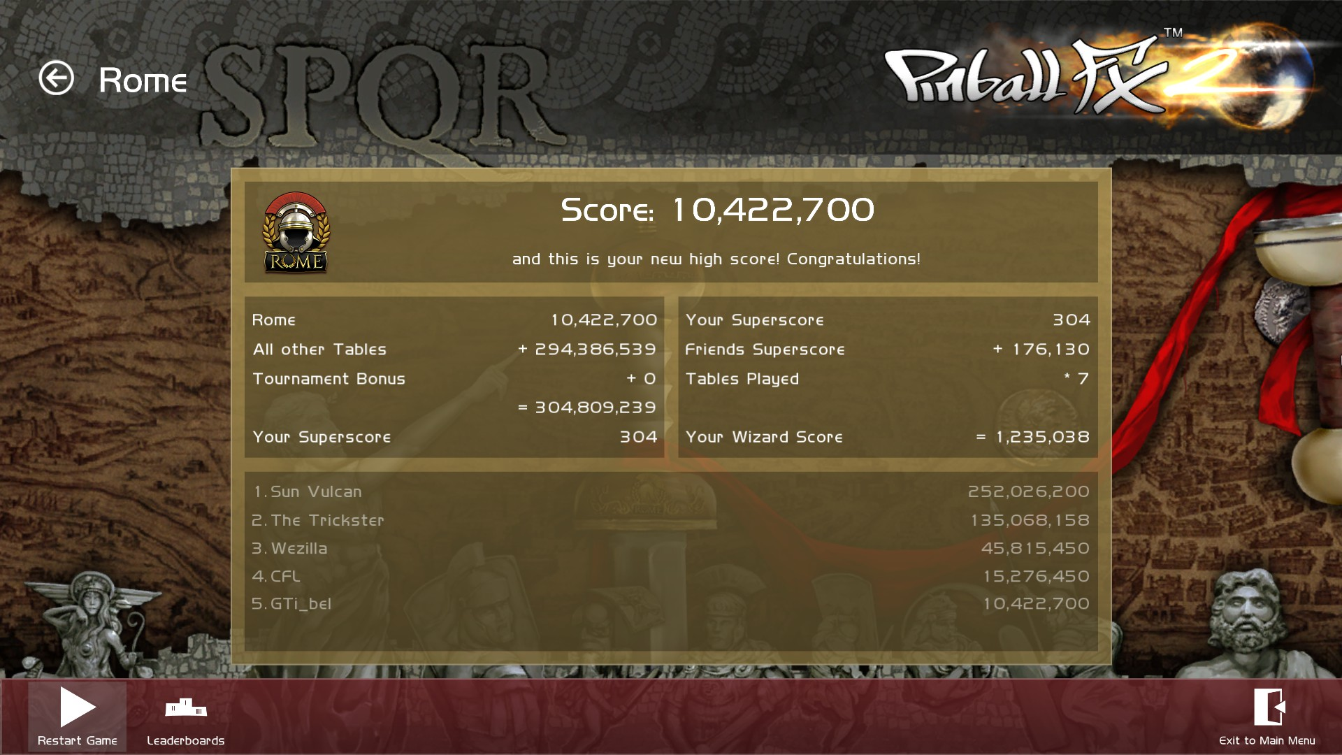 GTibel: Pinball FX 2: Rome (PC) 10,422,700 points on 2018-03-03 06:29:55
