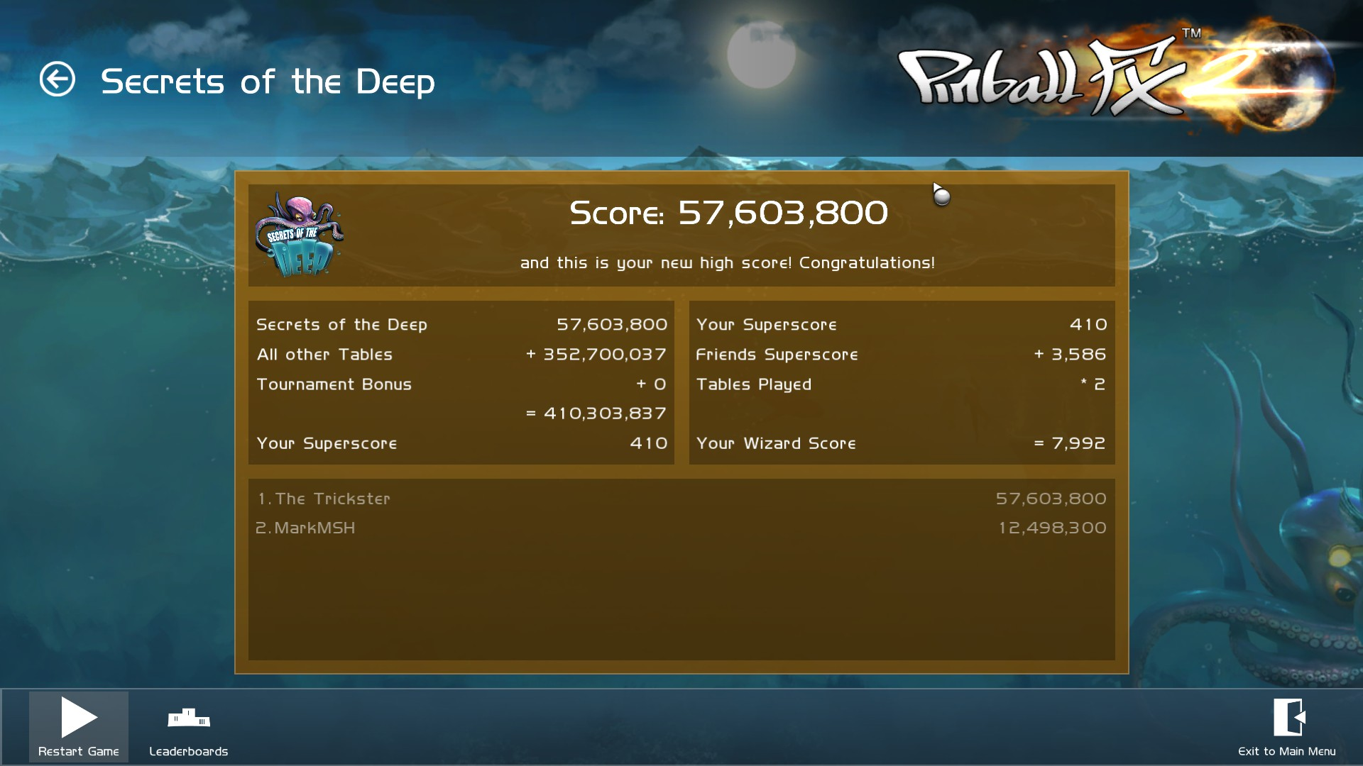 TheTrickster: Pinball FX 2: Secrets of the Deep (PC) 57,603,800 points on 2015-12-06 00:59:15